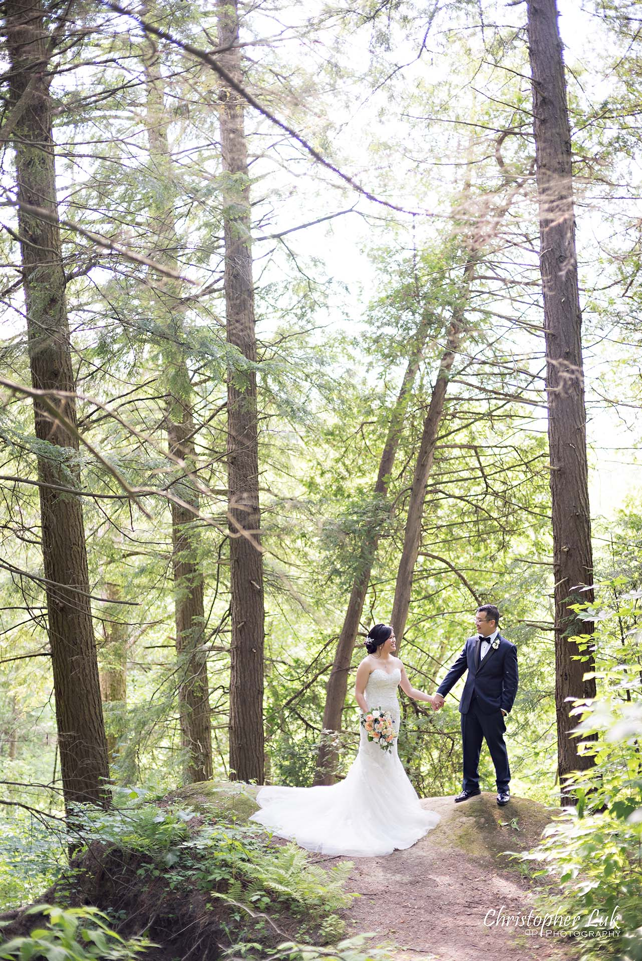 Christopher Luk Toronto Christian Community Church Kleinburg McMichael Art Gallery Presidente Banquet Hall Vaughan Wedding Photographer Bride Groom Natural Candid Photojournalistic Forest Cliff Lookout Overlook Woods Wooded Area Holding Hands Tall Trees Leading Lines Creative Portrait