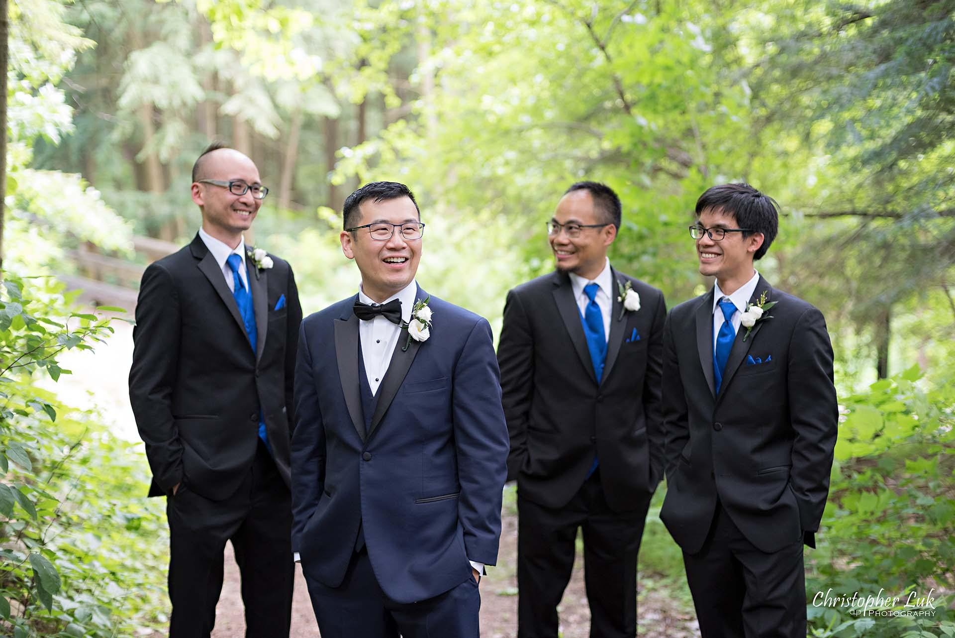 Christopher Luk Toronto Christian Community Church Kleinburg McMichael Art Gallery Presidente Banquet Hall Vaughan Wedding Photographer Groom Best Man Groomsmen Natural Candid Photojournalistic Forest Woods Wooded Area Tall Trees Cool Boy Band Album Cover Laugh Smile