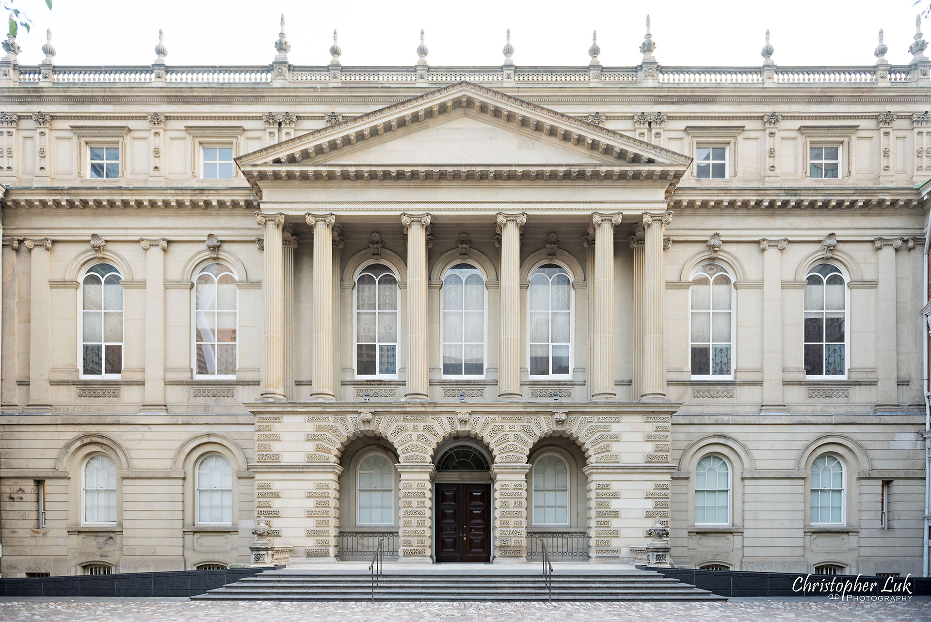 Christopher Luk Wedding Photographer Osgoode Hall Toronto Main Historic Building Front Steps Staircase Stairs Cobblestone Wide Landscape Front Library Entrance Facade