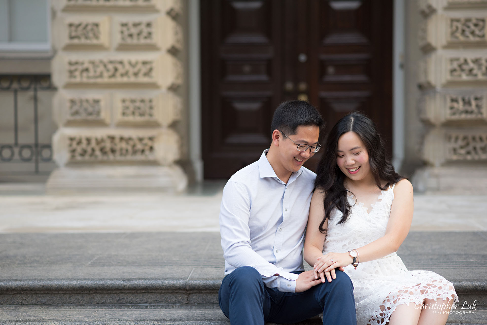 Christopher Luk Wedding Photographer Osgoode Hall Toronto Bride Groom Main Historic Building Front Steps Holding Hands Sitting Together Christopher Luk Wedding Photographer Osgoode Hall Toronto Bride Groom Main Historic Building Front Cobblestone Holding Hands Walking Together Looking at Each Other Portrait Natural Candid Photojournalistic