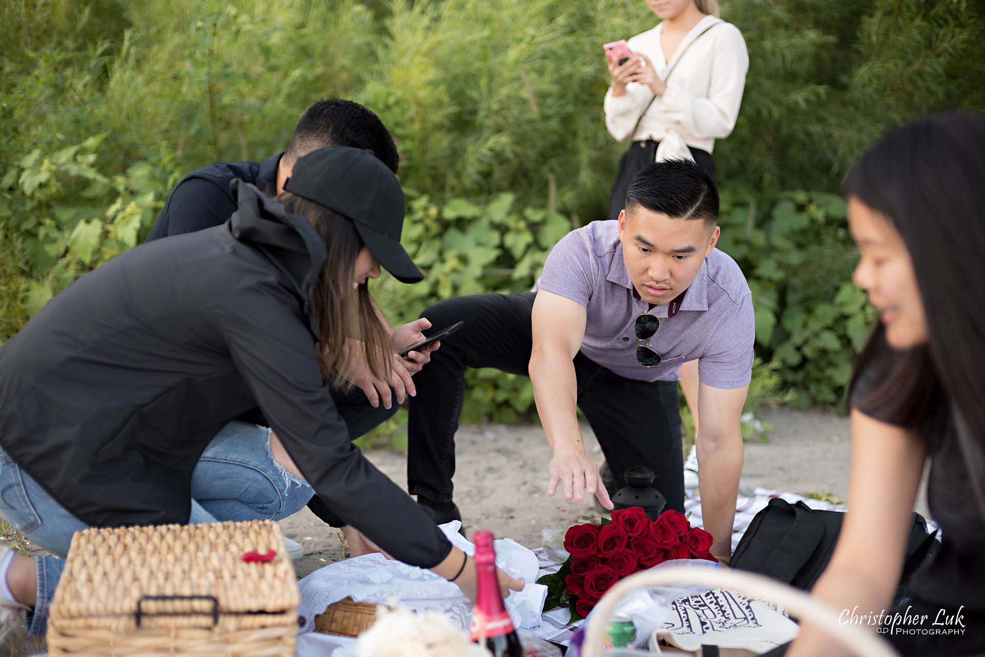 Christopher Luk Toronto Photographer Scarborough Bluffs Beach Park Sunset Surprise Wedding Marriage Engagement Proposal Candid Natural Photojournalistic Bride Groom Friends Helpers Setting Up