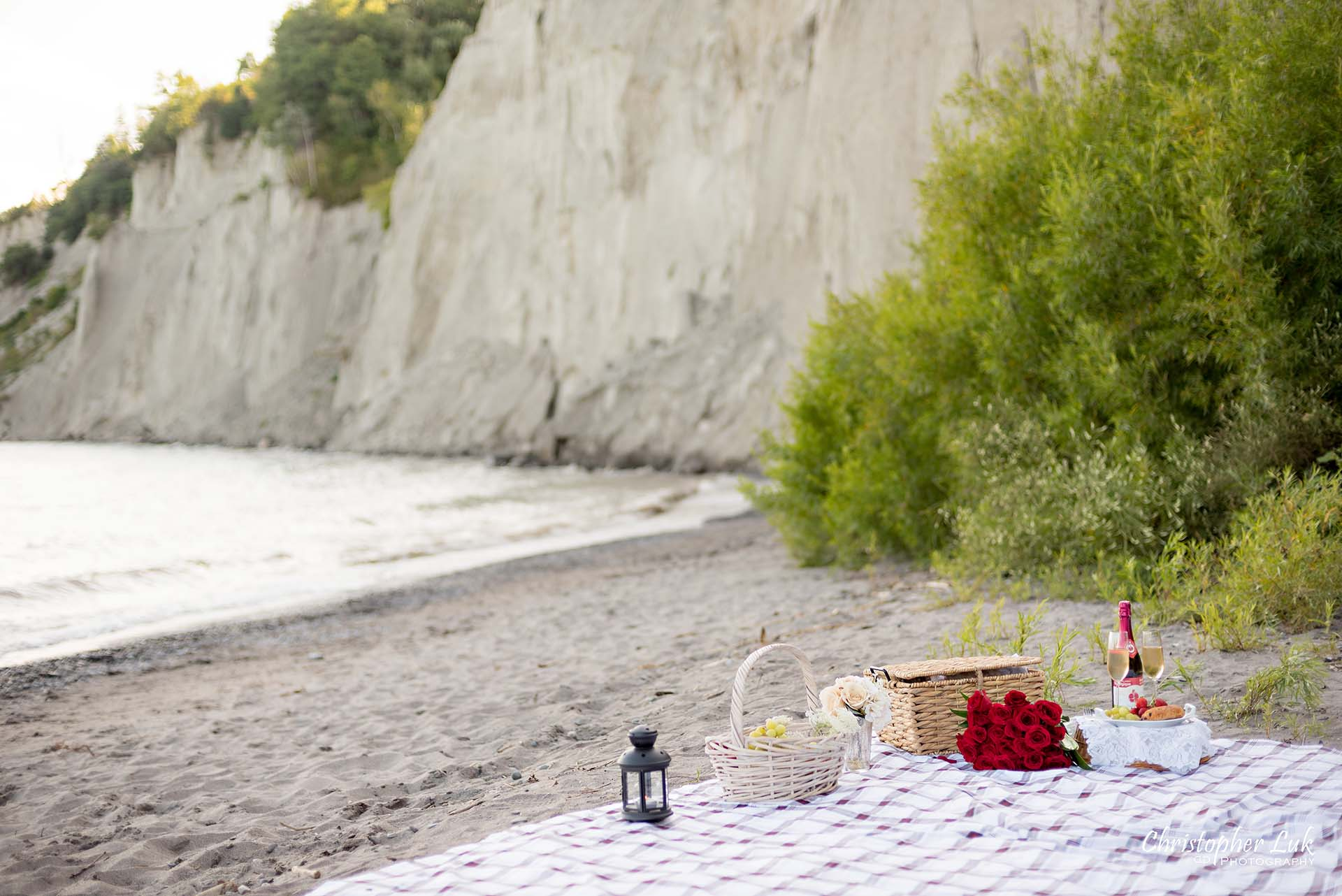 Christopher Luk Toronto Photographer Scarborough Bluffs Beach Park Sunset Surprise Wedding Marriage Engagement Proposal Picnic Blanket Basket