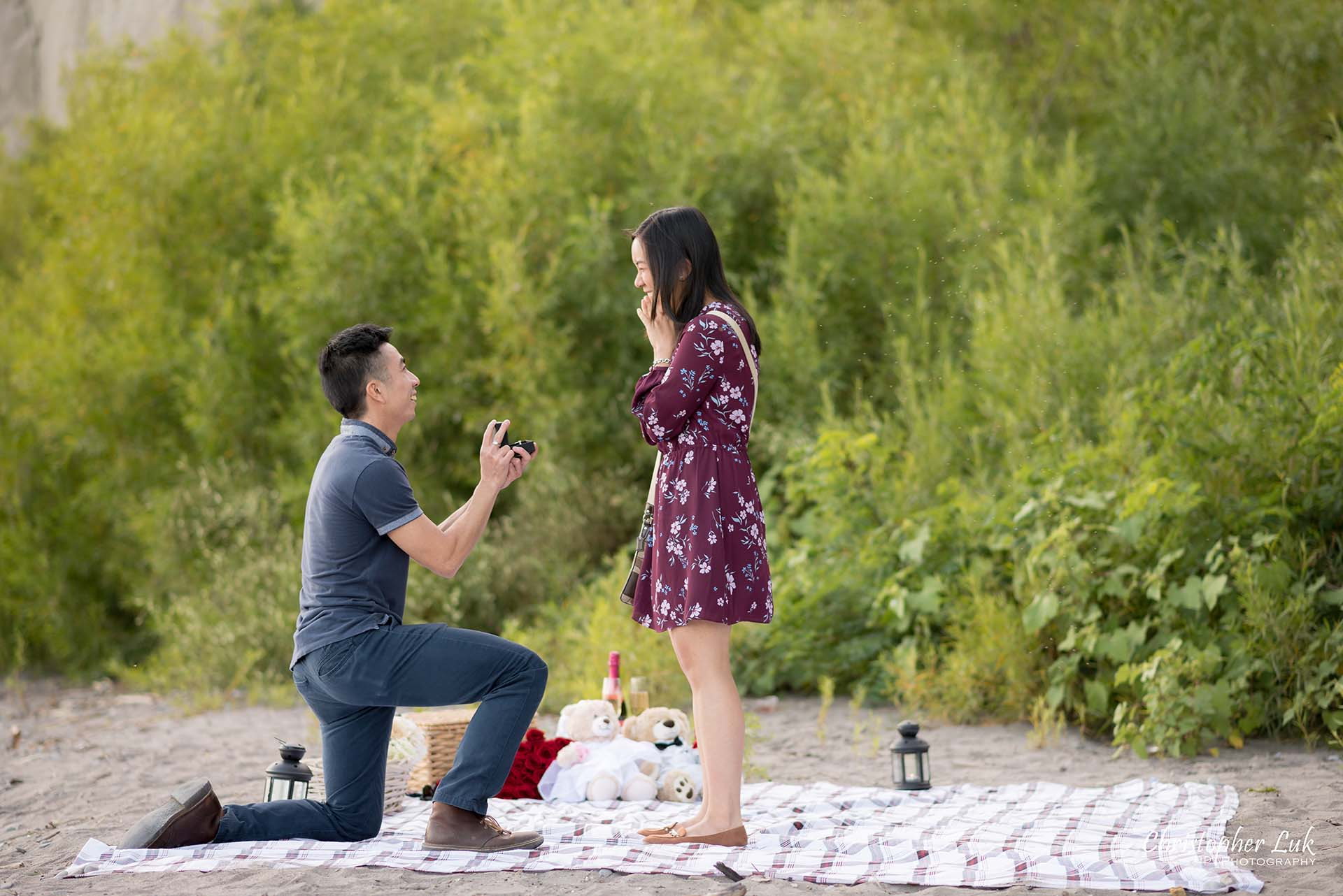 Christopher Luk Toronto Photographer Scarborough Bluffs Beach Park Sunset Surprise Wedding Marriage Engagement Proposal Candid Natural Photojournalistic Bride Groom Picnic Blanket Basket She Said Yes Engaged Ring on Finger Hug Down On One Knee
