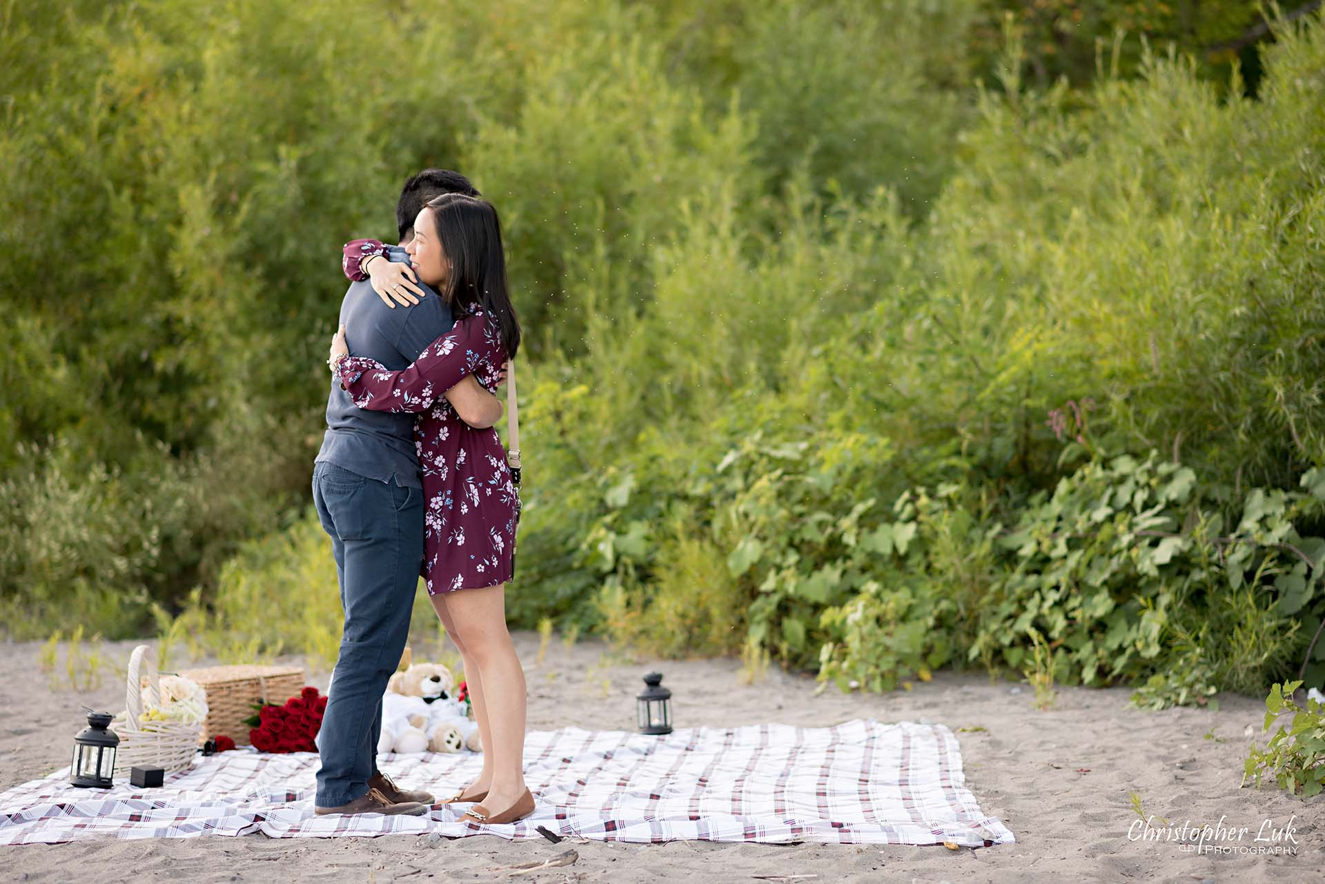 Christopher Luk Toronto Photographer Scarborough Bluffs Beach Park Sunset Surprise Wedding Marriage Engagement Proposal Candid Natural Photojournalistic Bride Groom Picnic Blanket Basket She Said Yes Engaged Ring on Finger Hug