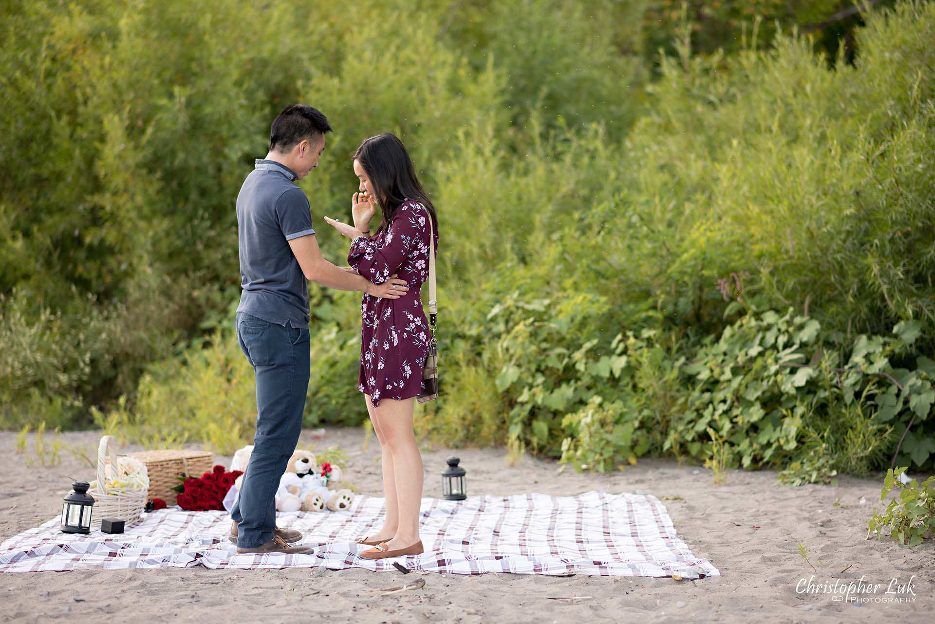 Christopher Luk Toronto Photographer Scarborough Bluffs Beach Park Sunset Surprise Wedding Marriage Engagement Proposal Candid Natural Photojournalistic Bride Groom Picnic Blanket Basket She Said Yes Engaged Ring on Finger
