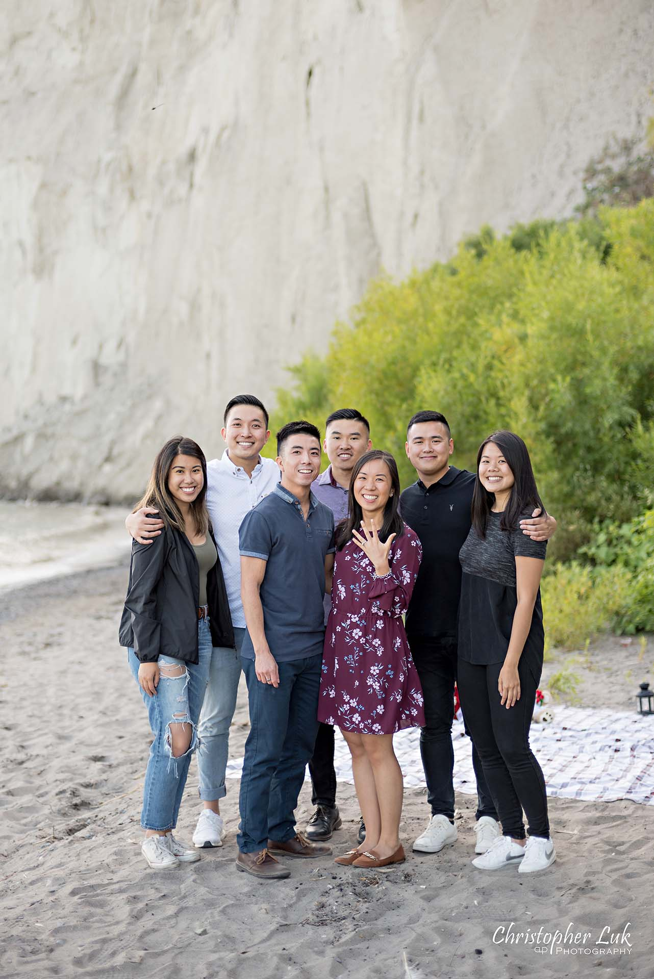 Christopher Luk Toronto Photographer Scarborough Bluffs Beach Park Sunset Surprise Wedding Marriage Engagement Proposal Candid Natural Photojournalistic Bride Groom Friends Helpers Group Photo