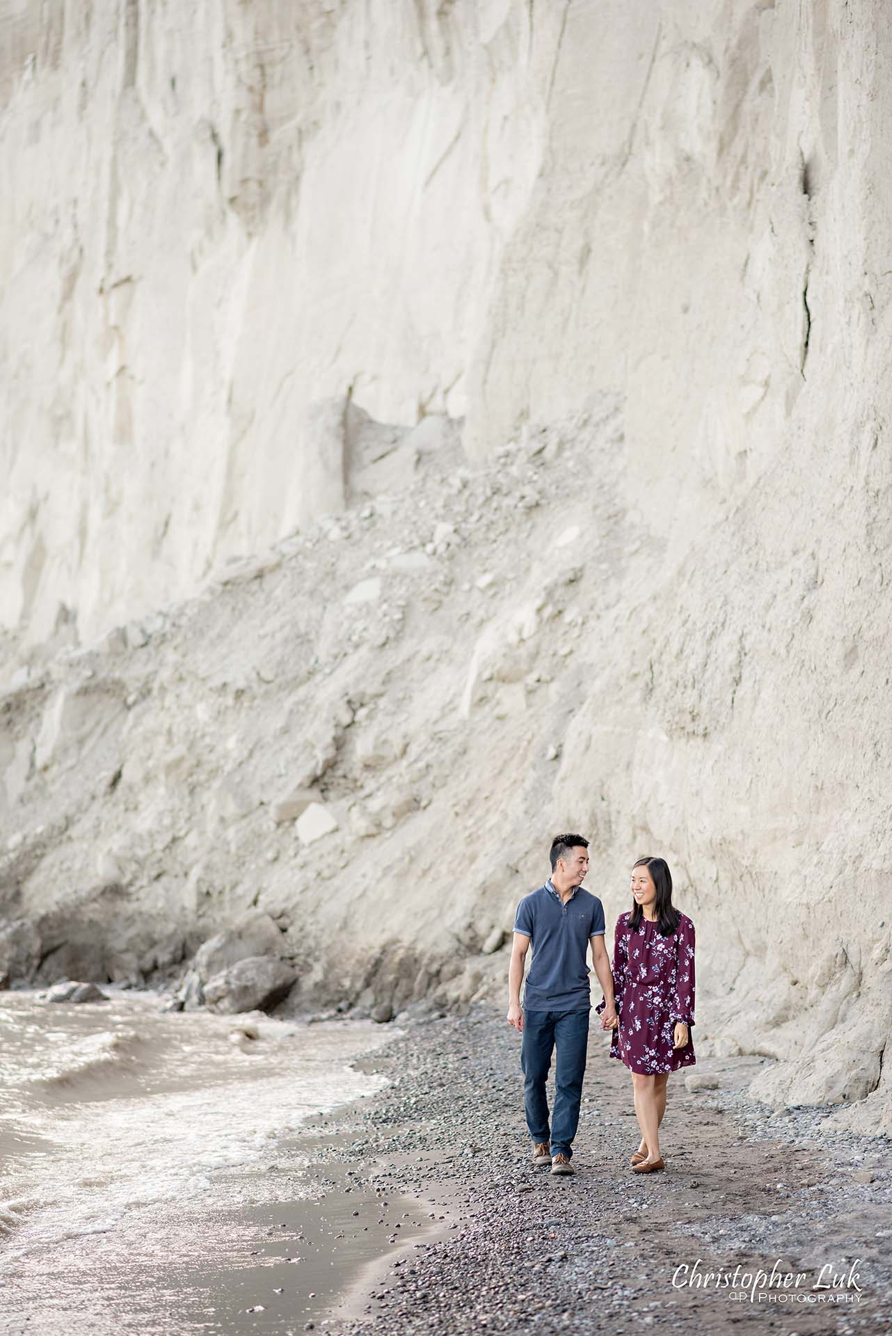 Christopher Luk Toronto Photographer Scarborough Bluffs Beach Park Sunset Surprise Wedding Marriage Engagement Proposal Candid Natural Photojournalistic Bride Groom Waterfront Water Lake Ontario Background Beachfront Sand Walking Together Holding Hands Edge of Water Smile Stone Portrait