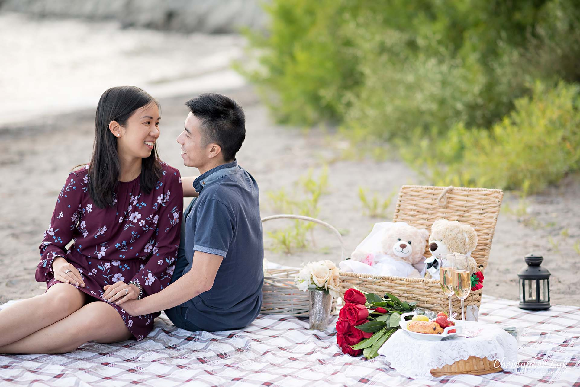 Christopher Luk Toronto Photographer Scarborough Bluffs Beach Park Sunset Surprise Wedding Marriage Engagement Proposal Candid Natural Photojournalistic Bride Groom Picnic Blanket Basket Teddy Bears Sitting Together Laughing Smiling