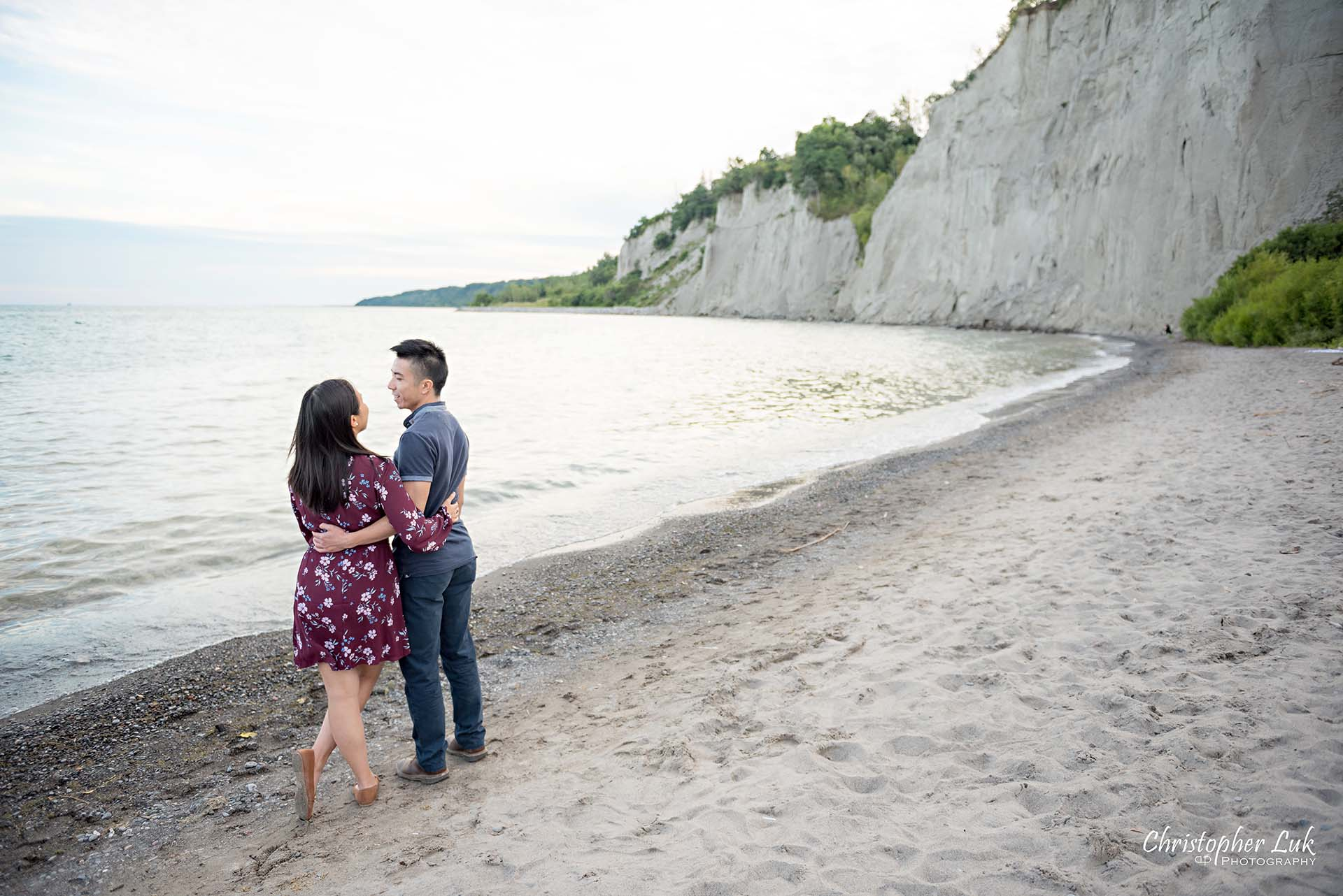 Christopher Luk Toronto Photographer Scarborough Bluffs Beach Park Sunset Surprise Wedding Marriage Engagement Proposal Candid Natural Photojournalistic Bride Groom Waterfront Water Lake Ontario Background Beachfront Sand Hug Angle