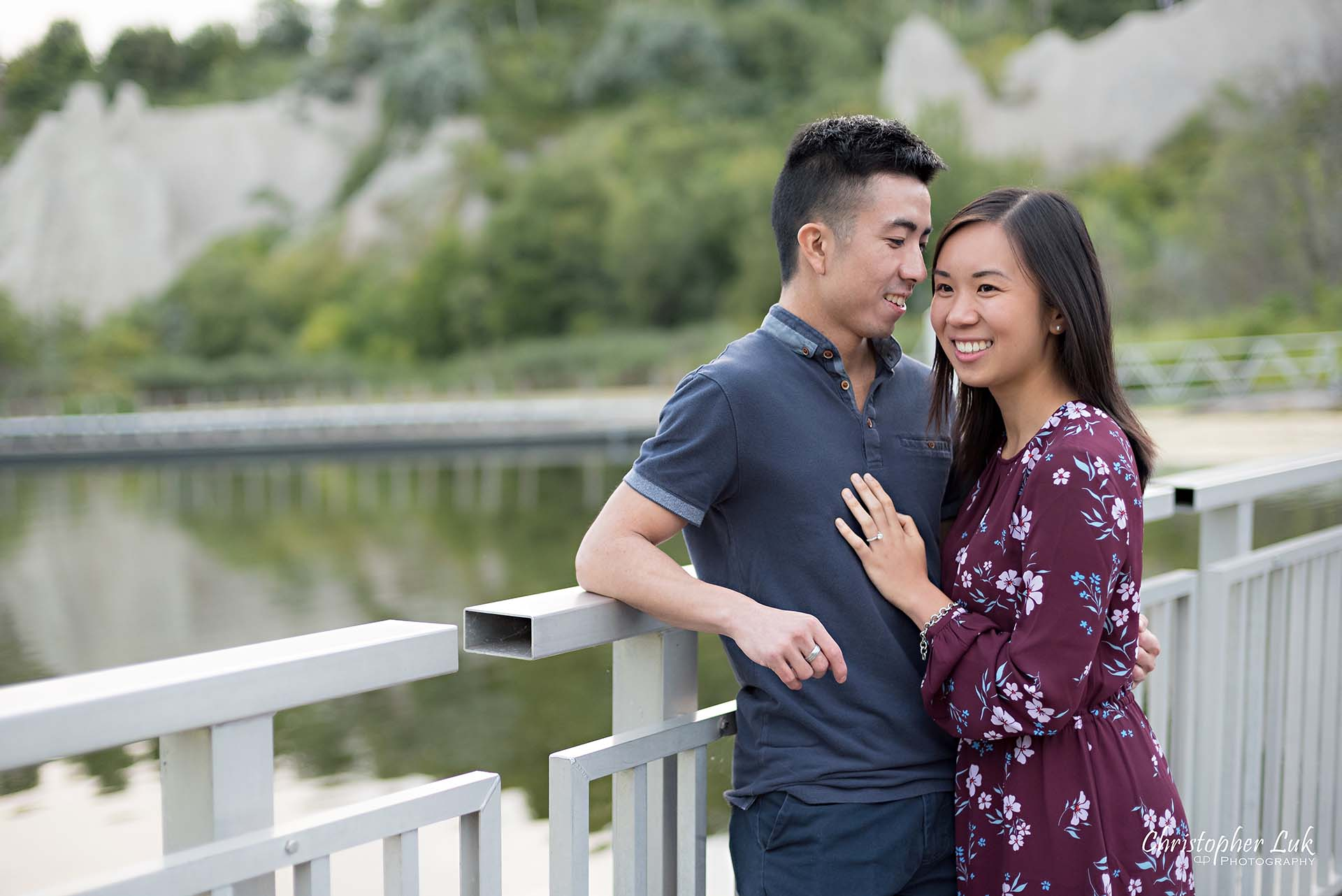 Christopher Luk Toronto Photographer Scarborough Bluffs Beach Park Sunset Surprise Wedding Marriage Engagement Proposal Candid Natural Photojournalistic Bride Groom Hug Boardwalk Bridge Smile