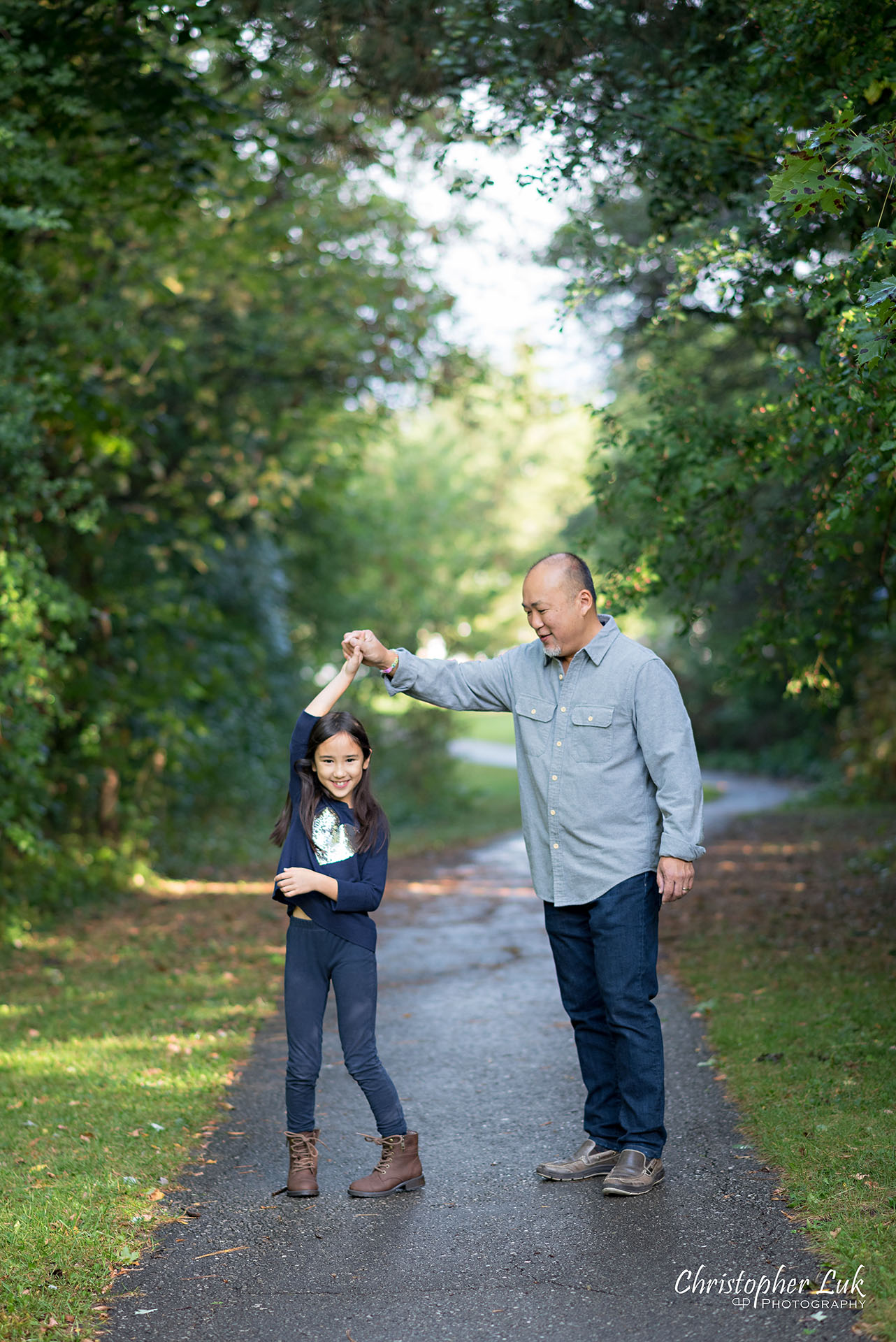 Christopher Luk Family Photographer Toronto Markham Candid Natural Photojournalistic Father Daughter Dancing Twirl Spinning