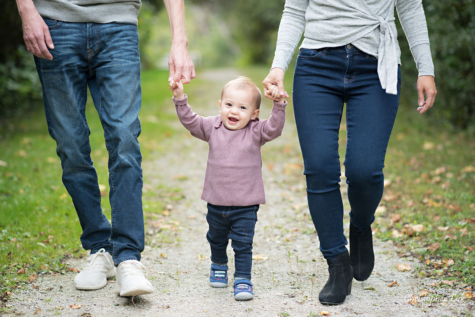 Christopher Luk Toronto Wedding Photographer Richmond Hill Baby Girl Sister Children Family Pictures Candid Natural Photojournalistic Mother Father Mom Dad Motherhood Smile Daughter Walking Holding Hands Feet Close