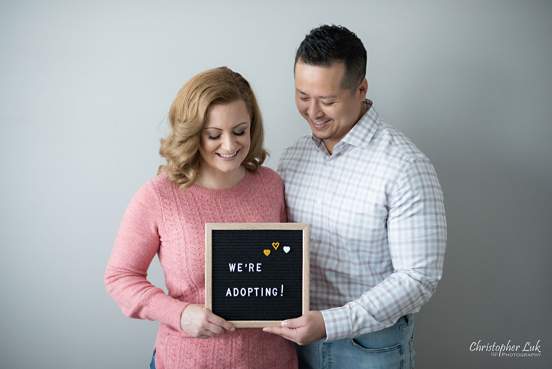 Christopher Luk Toronto Markham Family Adoption LifeBook Photographer Pictures Photos Children Session Parents We're Adopting Letter Board Sign Smile