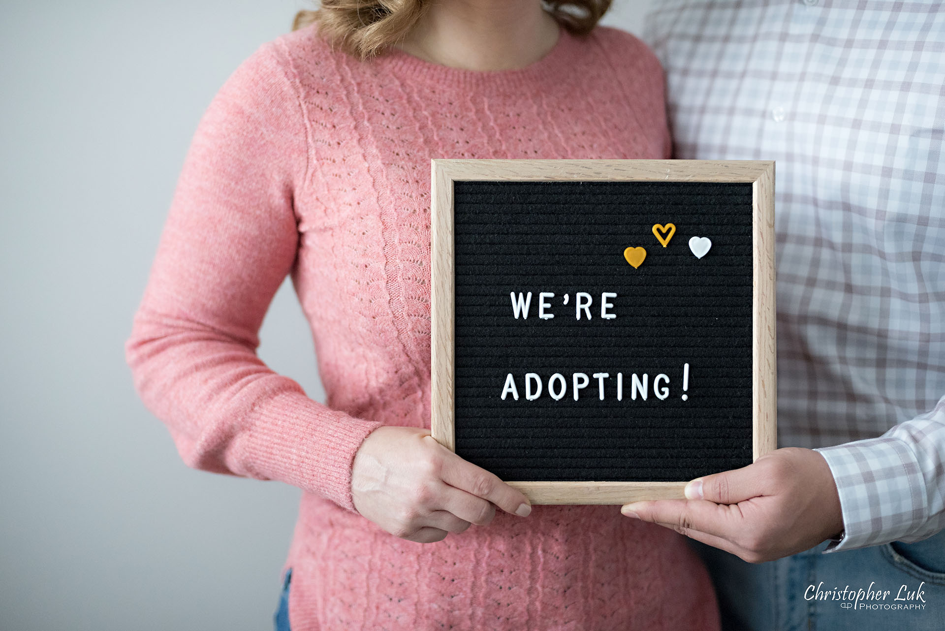 Christopher Luk Toronto Markham Family Adoption LifeBook Photographer Pictures Photos Children Session Parents We're Adopting Letter Board Sign Landscape