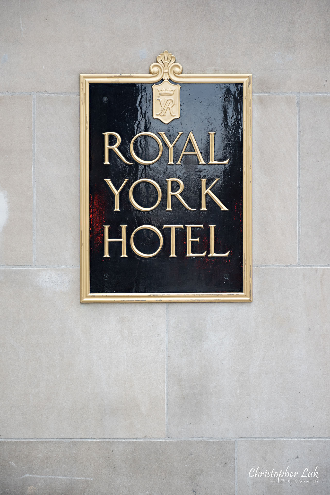Toronto Fairmont Royal York Hotel Wedding Christopher Luk Photographer Photography Main Entrance Street Exterior Plaque Emblem Font Sign Name Logo