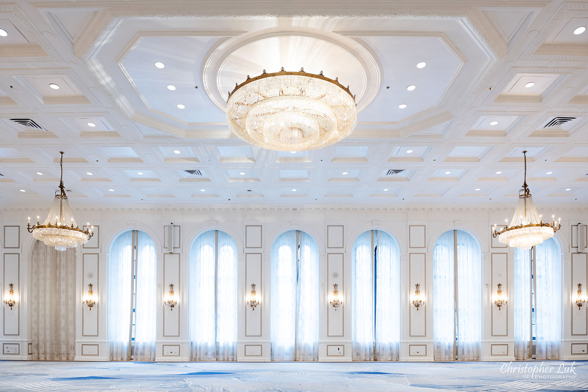 Toronto Fairmont Royal York Hotel Wedding Christopher Luk Photographer Photography Concert Hall Wide Crystal Chandelier
