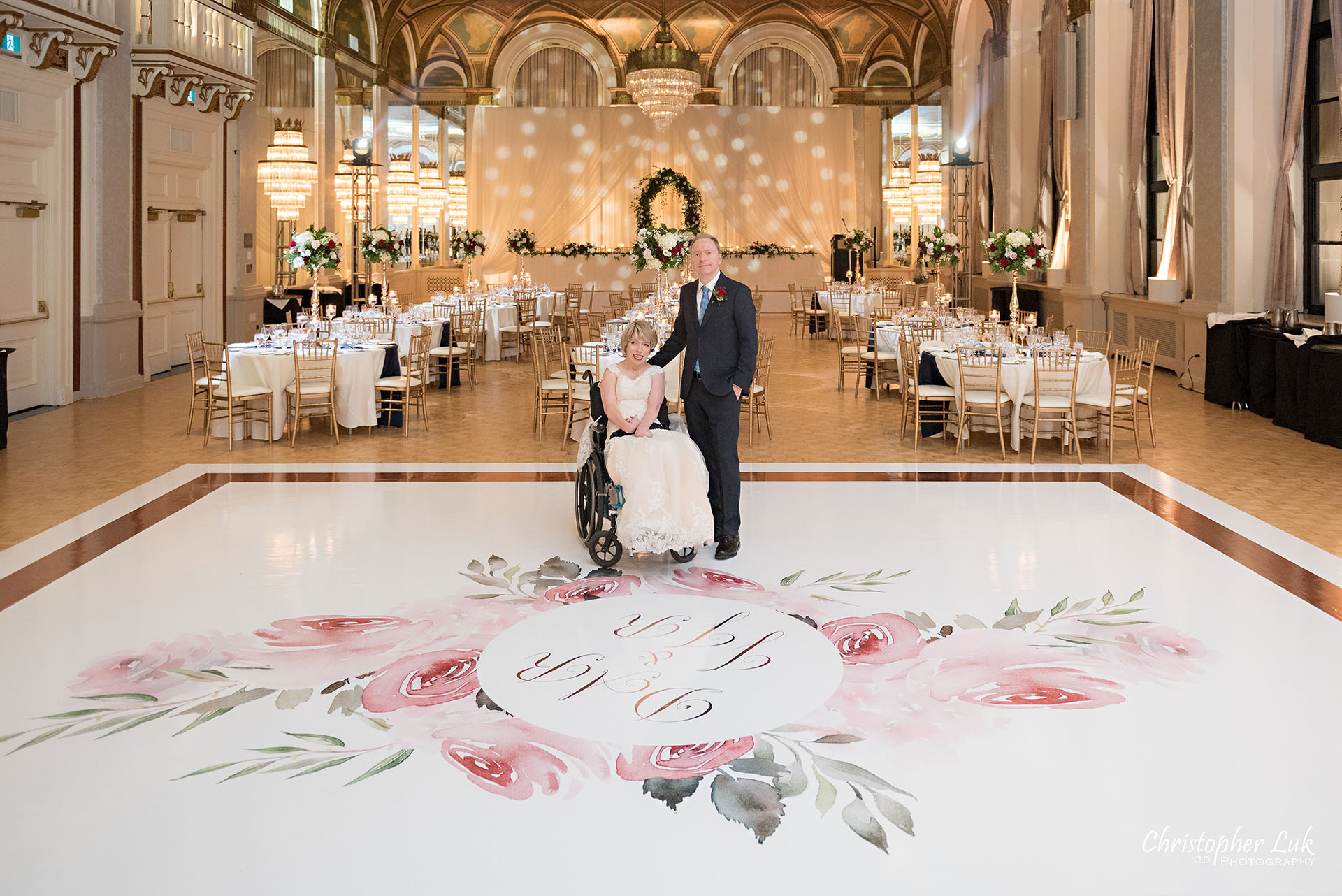 Toronto Fairmont Royal York Hotel Wedding Christopher Luk Photographer Photography Crystal Chandelier Ballroom Dinner Reception Setup Bride Groom First Look Reveal Dance Floor Decor