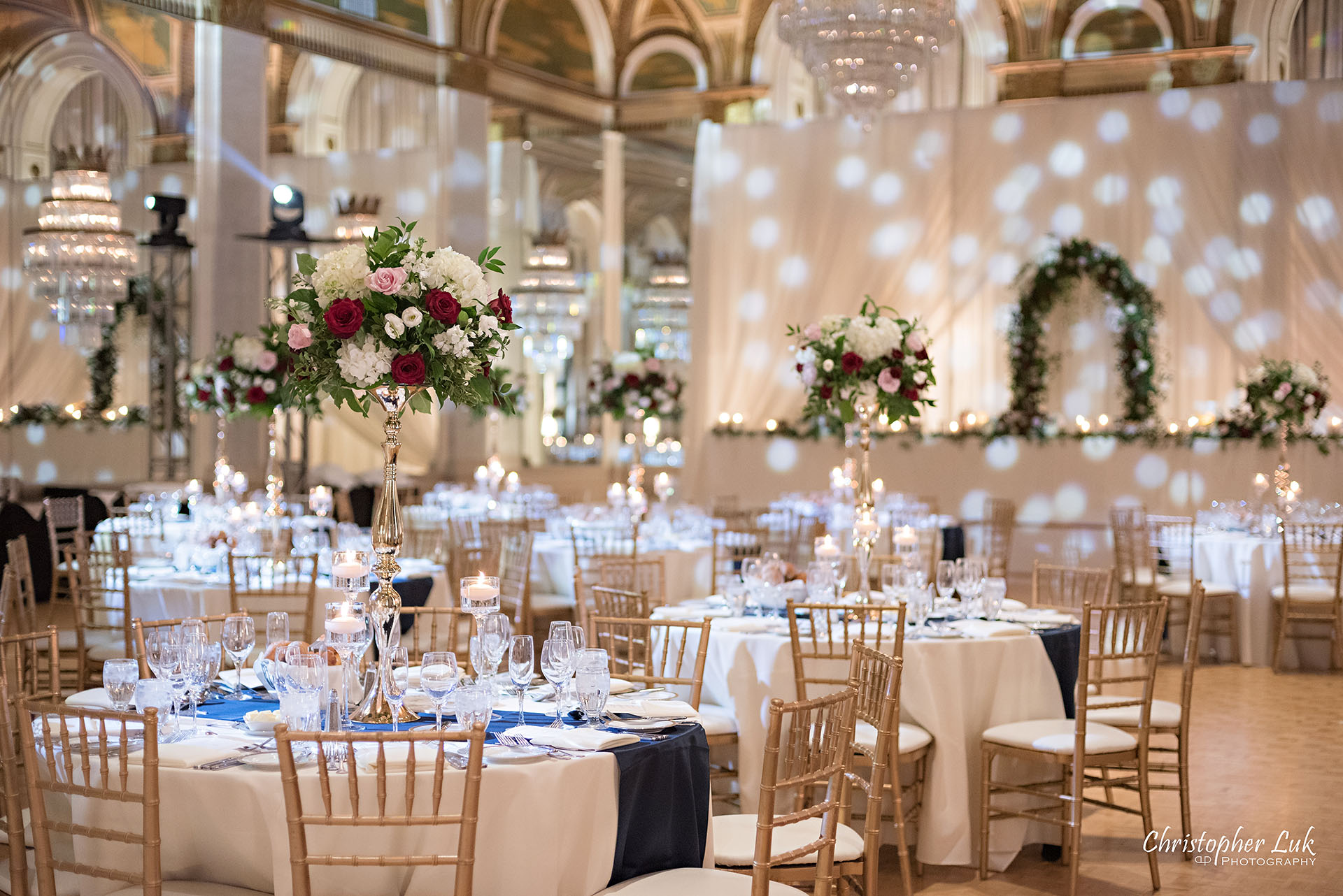 Toronto Fairmont Royal York Hotel Wedding Christopher Luk Photographer Photography Crystal Chandelier Ballroom Dinner Reception Setup Vinyl Floor Floral Arch Social Rose Aisle Dance Floor Decor Chiavari Chairs