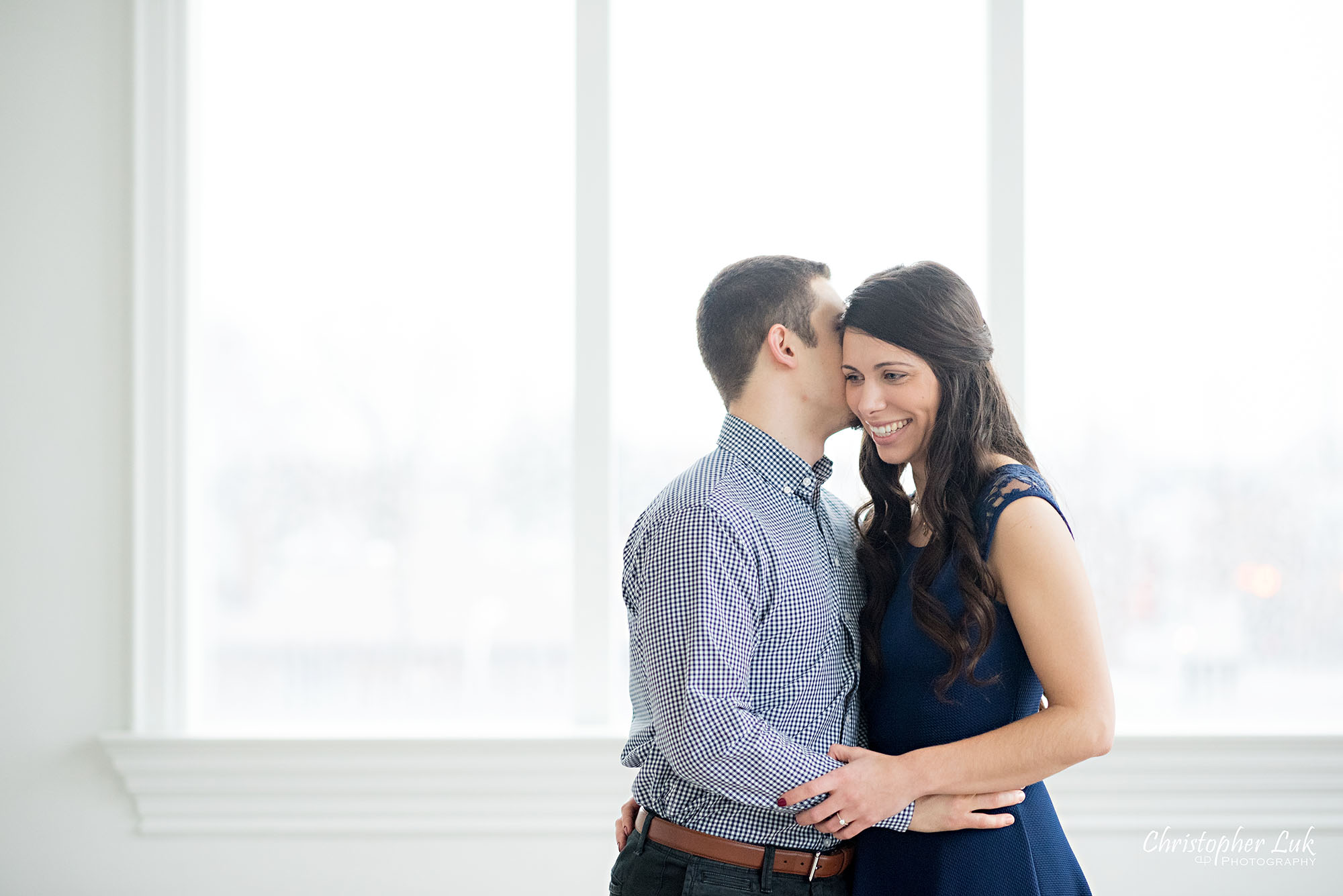 Christopher Luk Toronto Wedding Photographer Mint Room Studios Conservatory Engagement Session Winter Indoor Natural Light Candid Photojournalistic Bride Groom Hug Hold Whisper Smile Cute Adorable
