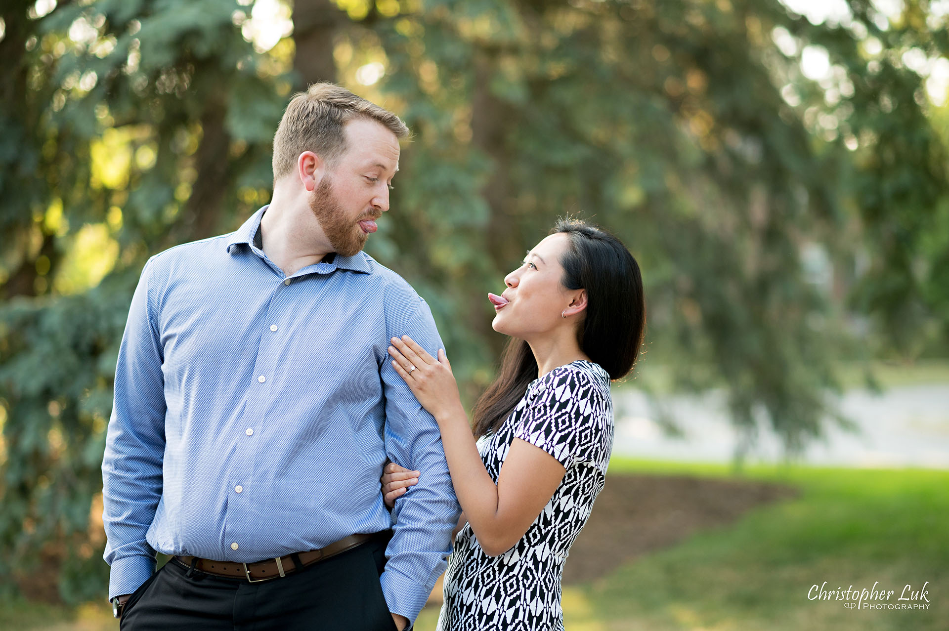 Christopher Luk Photographer Heintzman House Markham Sunset Surprise Wedding Marriage Engagement Proposal She Said Yes Funny Faces Tongue Out