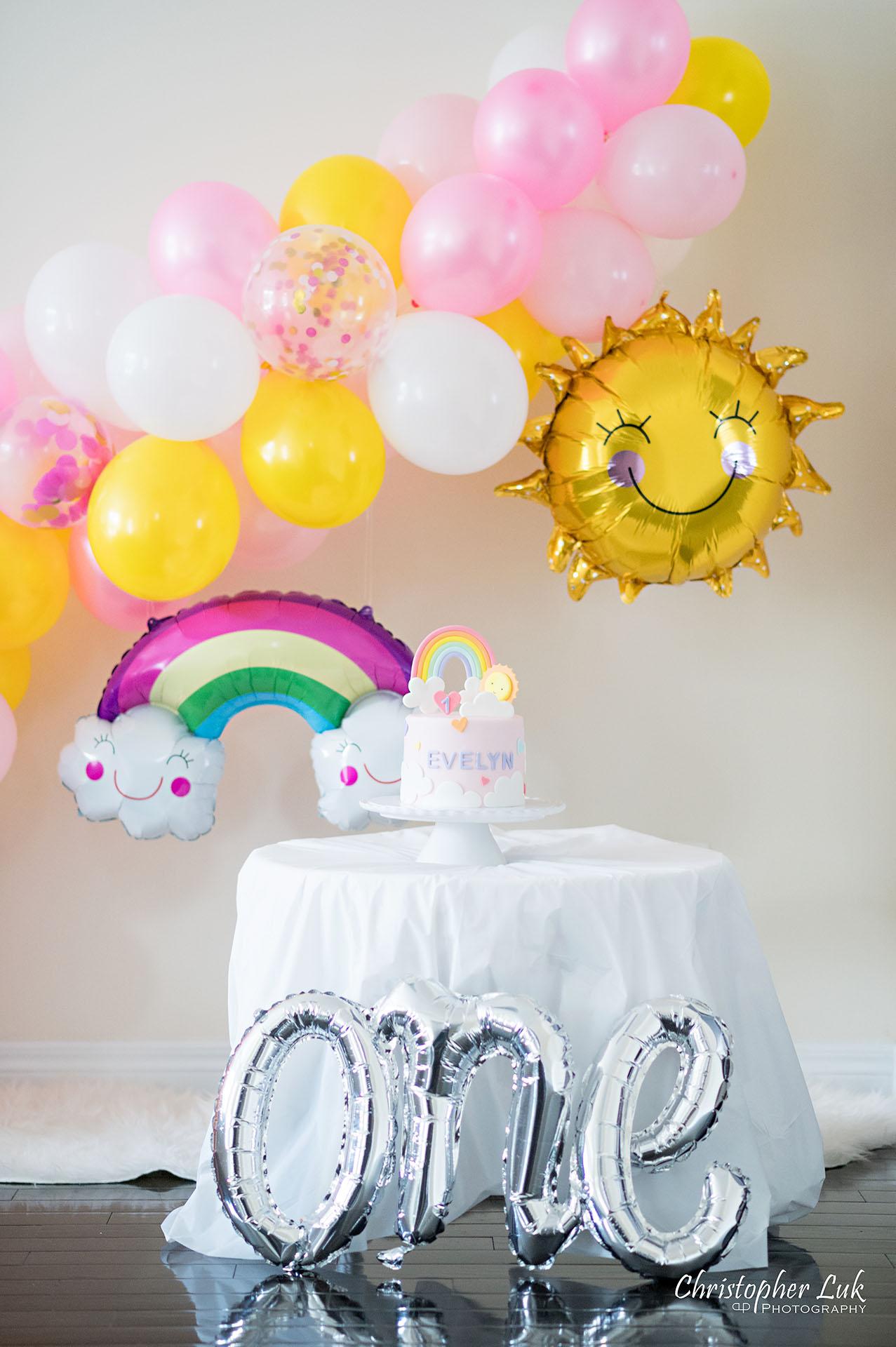 Christopher Luk Toronto Markham Family Photographer Baby Girl First Birthday Balloon Arch Rainbow Pink Hat Rainbow Sun Cake Decor