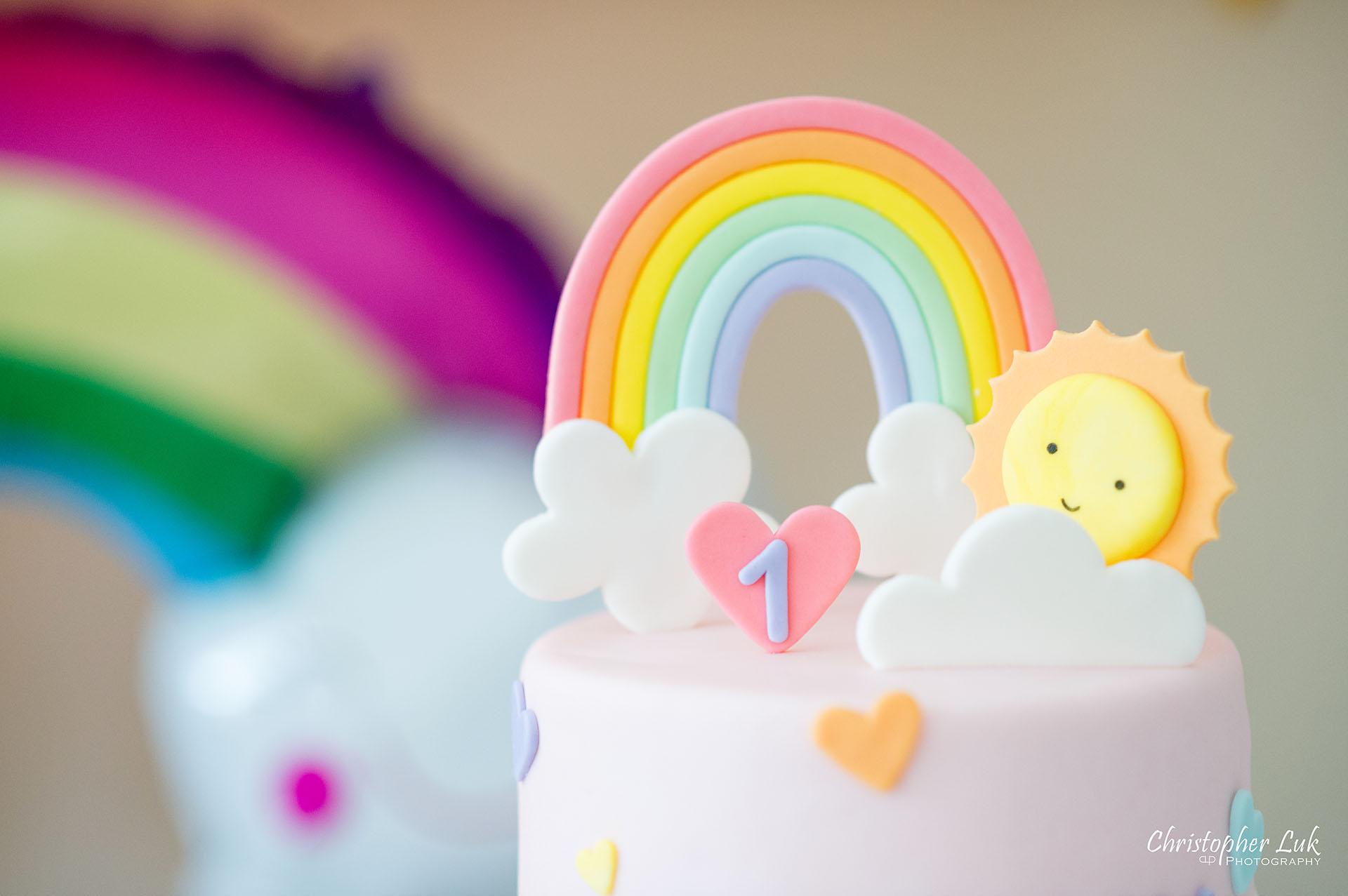 Christopher Luk Toronto Markham Family Photographer Baby Girl First Birthday Balloon Arch Rainbow Pink Sun Clouds Decor Details