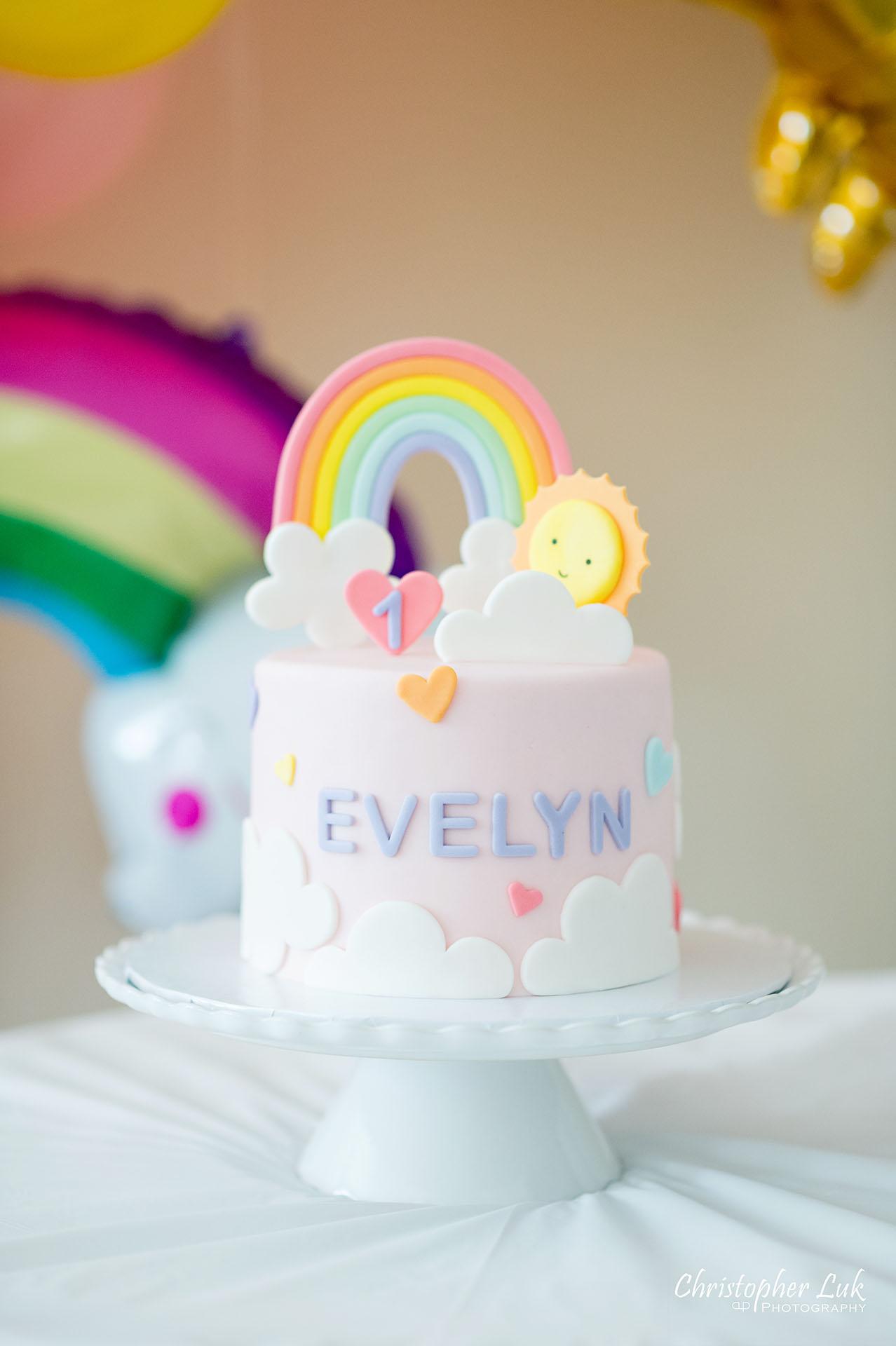 Christopher Luk Toronto Markham Family Photographer Baby Girl First Birthday Balloon Arch Rainbow Pink Sun Clouds