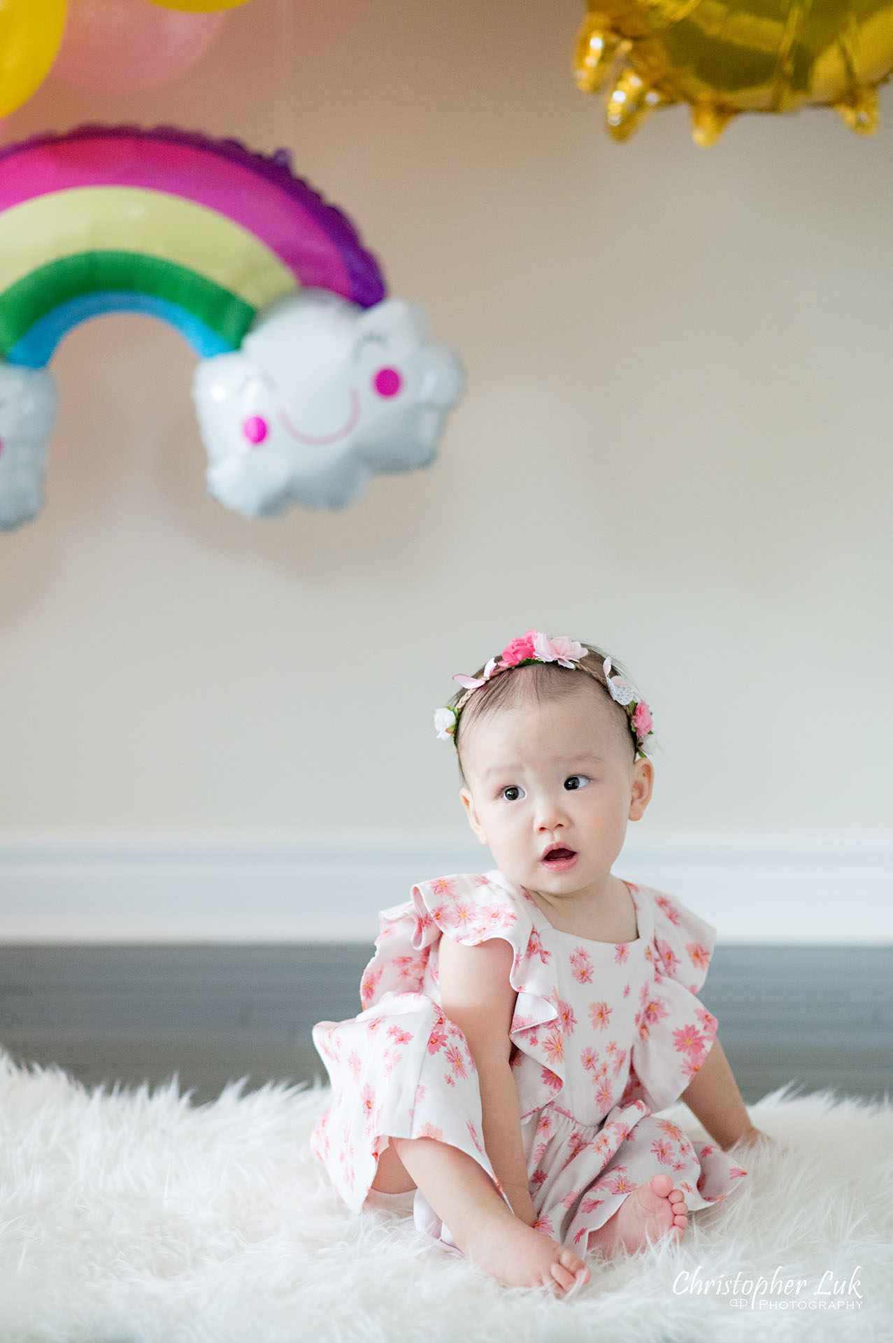 Christopher Luk Toronto Markham Family Photographer Baby Girl First Birthday Balloon Arch Rainbow Pink Natural Candid Photojournalistic
