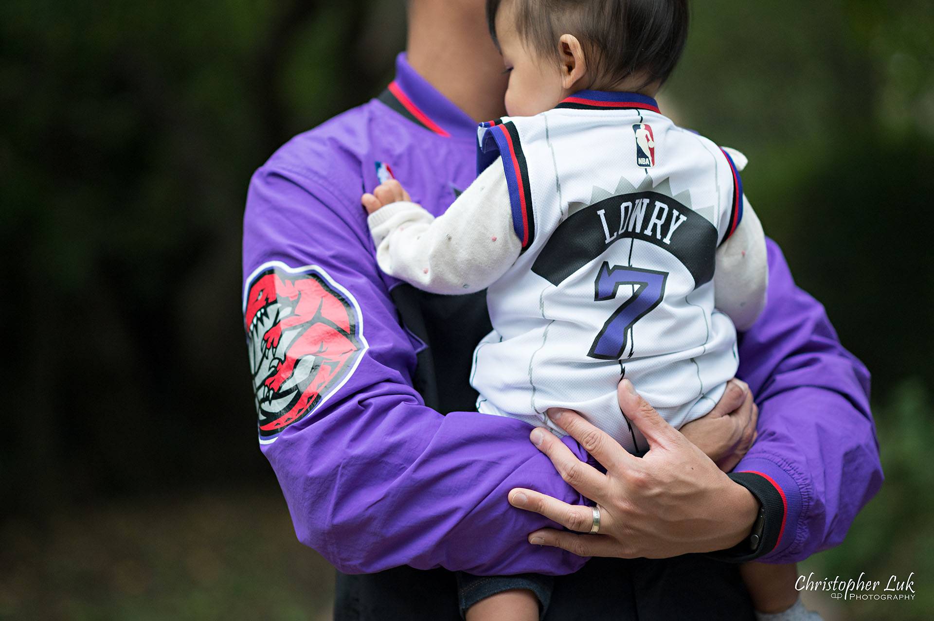 Christopher Luk Toronto Markham Family Wedding Photographer Baby Girl Natural Candid Photojournalistic Mom Dad Mother Father Motherhood Fatherhood Daughter Landscape Together Toronto Raptors We the North Over Everything Kyle Lowry 7 Klow7 Jersey Jacket Detail