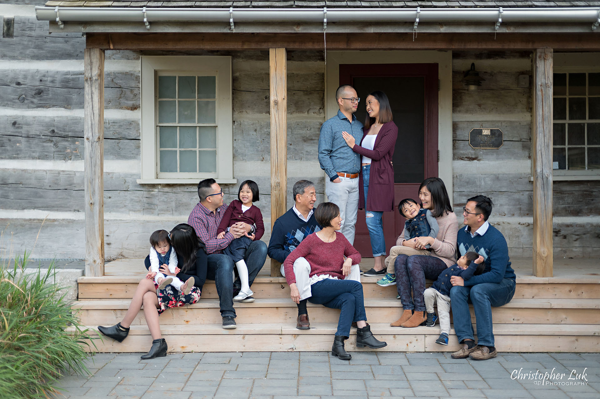 Christopher Luk Toronto Markham Photographer Grandparents Grandchildren Children Family Pictures Wedding Anniversary Celebration Candid Natural Photojournalistic Everyone Together Laughing Smiling Laugh Smile Old Historic Home Farm Log House Steps Stairs Pose Posing