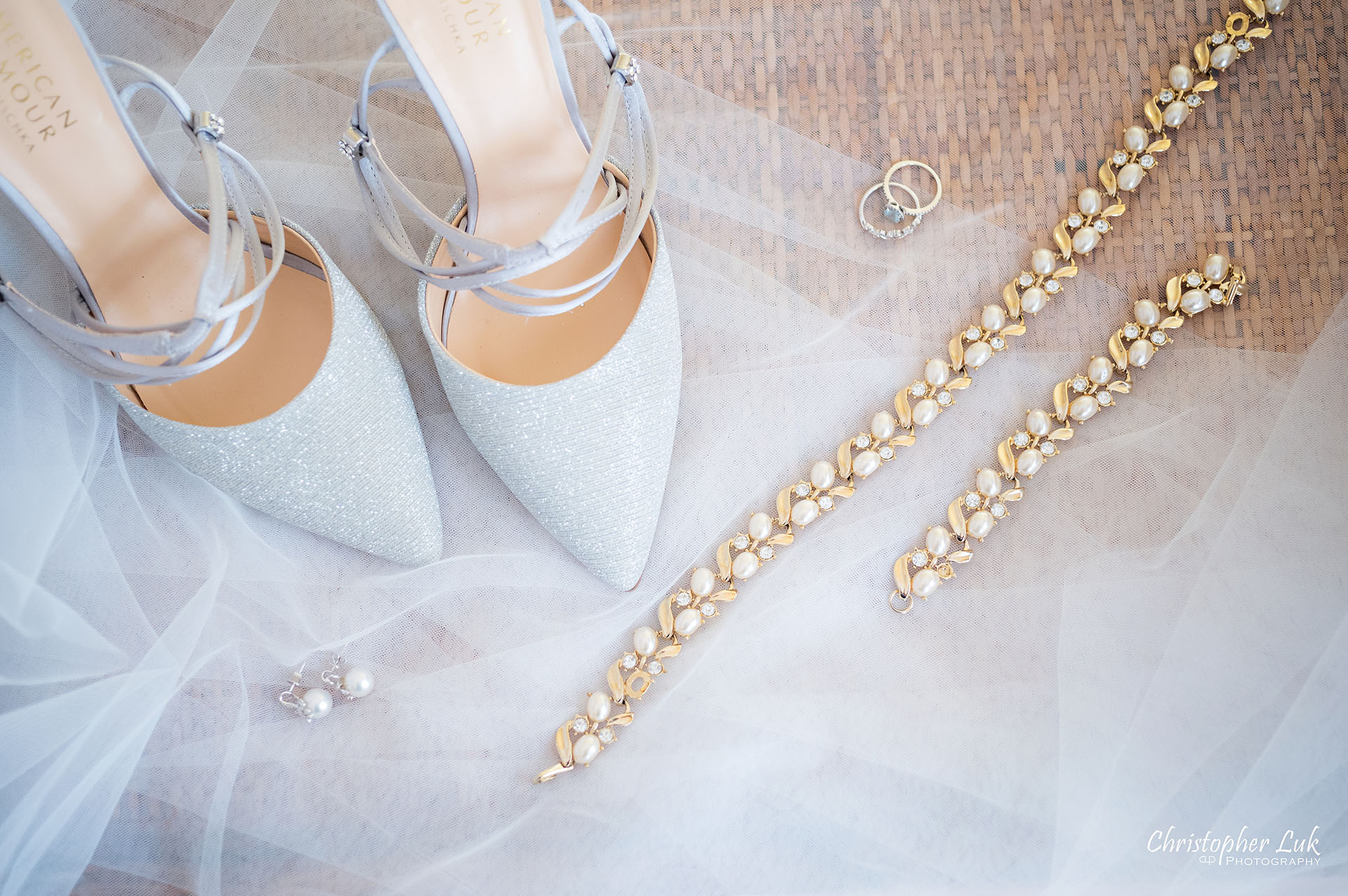 Christopher Luk Toronto Wedding Photographer Bridle Trail Baptist Church Unionville Main Street Crystal Fountain Event Venue Bride Bridal Boudoir Shoes Jewellery Jewelry Necklace Bracelet Pearls Crystal Gold Diamond Rings Earrings Veil Detail