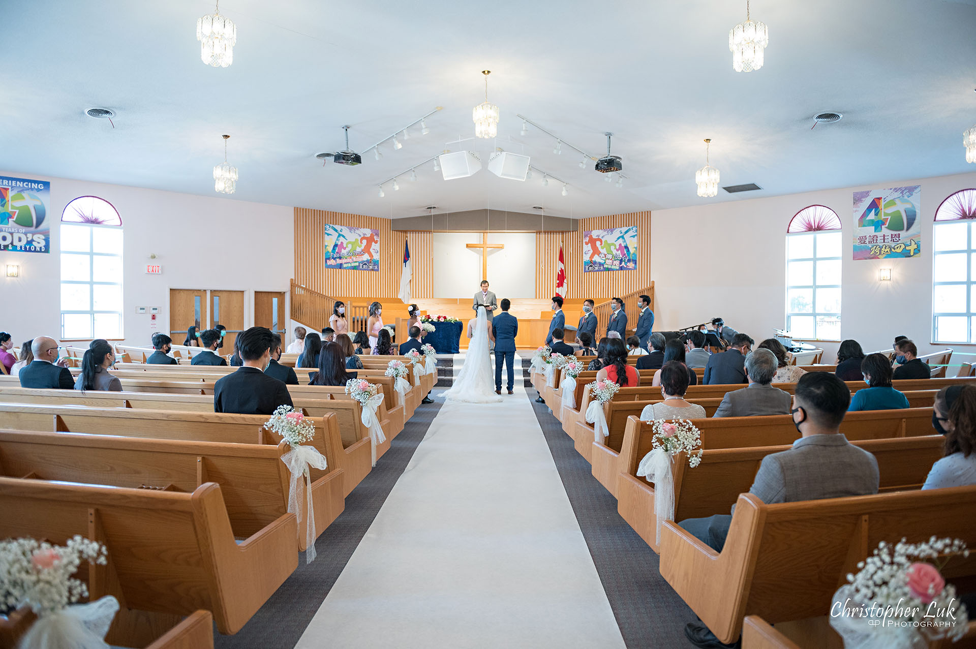 Christopher Luk Toronto Wedding Photographer Bridle Trail Baptist Church Unionville Main Street Crystal Fountain Event Venue Ceremony Location Interior Bride Groom Centre Aisle Sanctuary Covid Covid19 Coronavirus Physical Distancing Measures