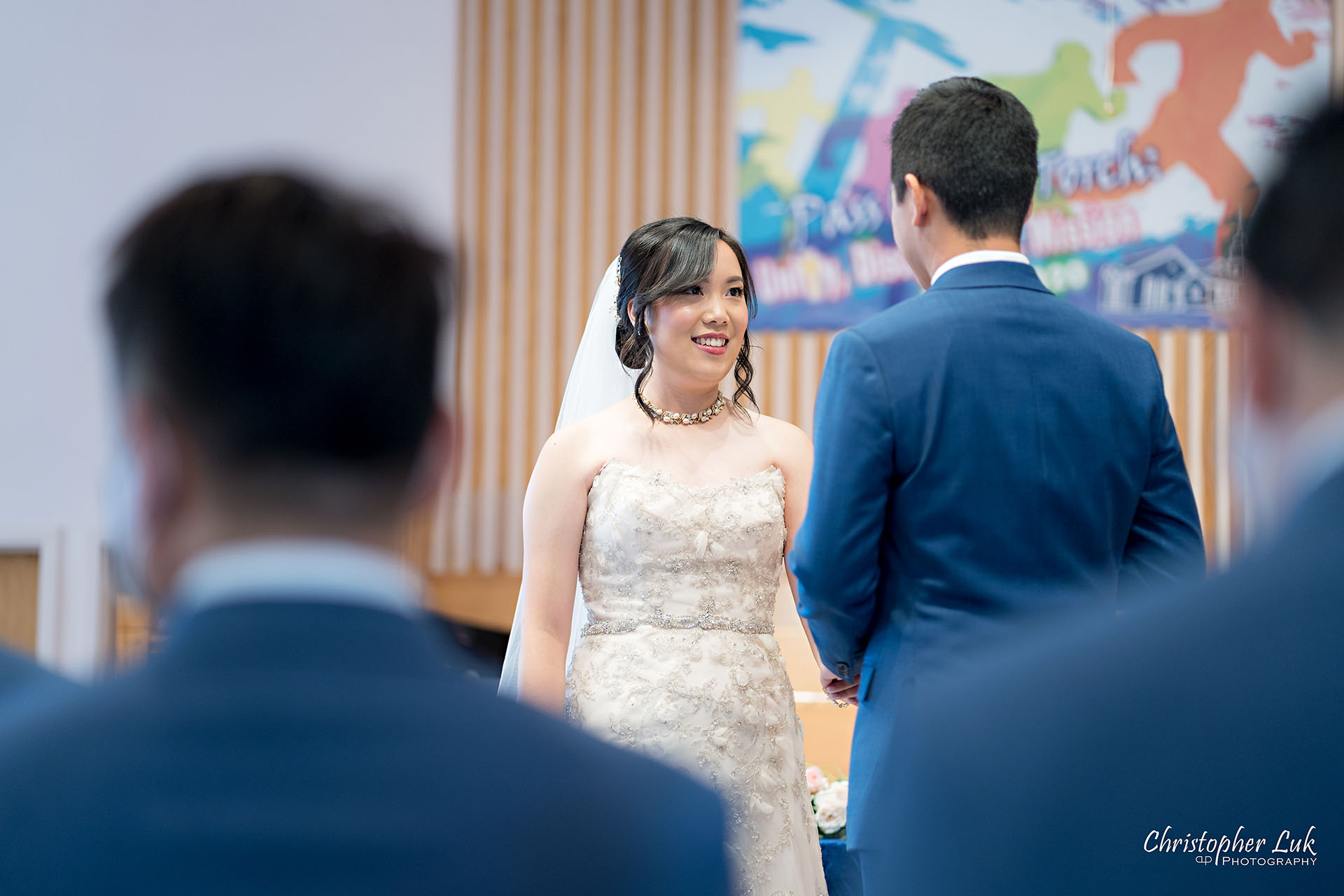 Christopher Luk Toronto Wedding Photographer Bridle Trail Baptist Church Unionville Main Street Crystal Fountain Event Venue Ceremony Location Interior Bride Groom Sanctuary Natural Photojournalistic Candid Vows Smile Laugh Reaction