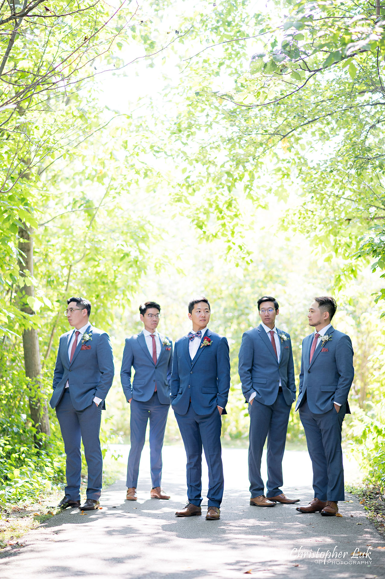 Christopher Luk Toronto Wedding Photographer Bridle Trail Baptist Church Unionville Main Street Crystal Fountain Event Venue Bride Groom Natural Photojournalistic Candid Creative Portrait Session Pictures Forest Best Man Groomsmen Stylish Boy Band Cool