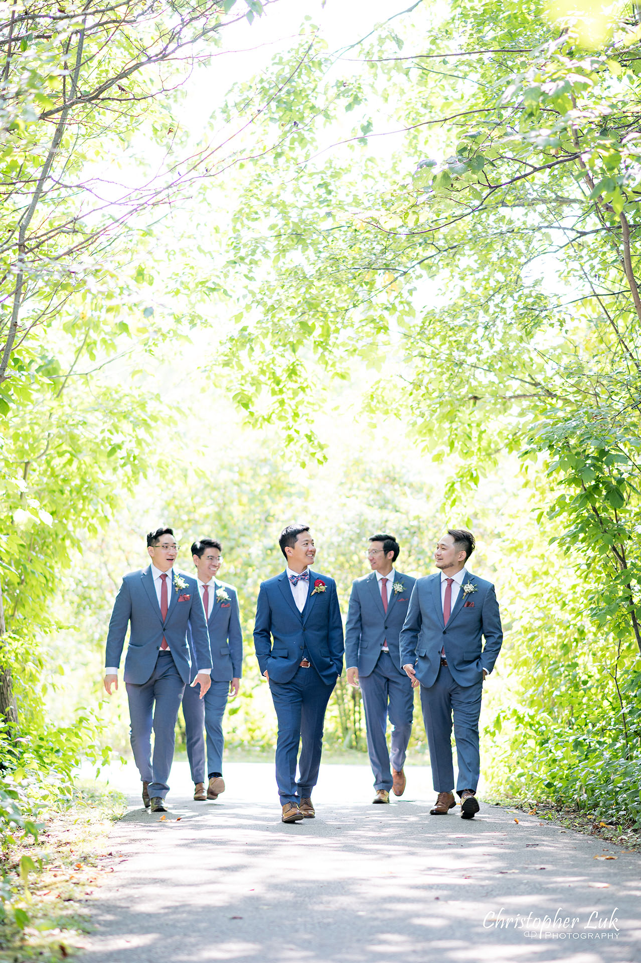 Christopher Luk Toronto Wedding Photographer Bridle Trail Baptist Church Unionville Main Street Crystal Fountain Event Venue Bride Groom Natural Photojournalistic Candid Creative Portrait Session Pictures Forest Best Man Groomsmen Stylish Boy Band Walking Together