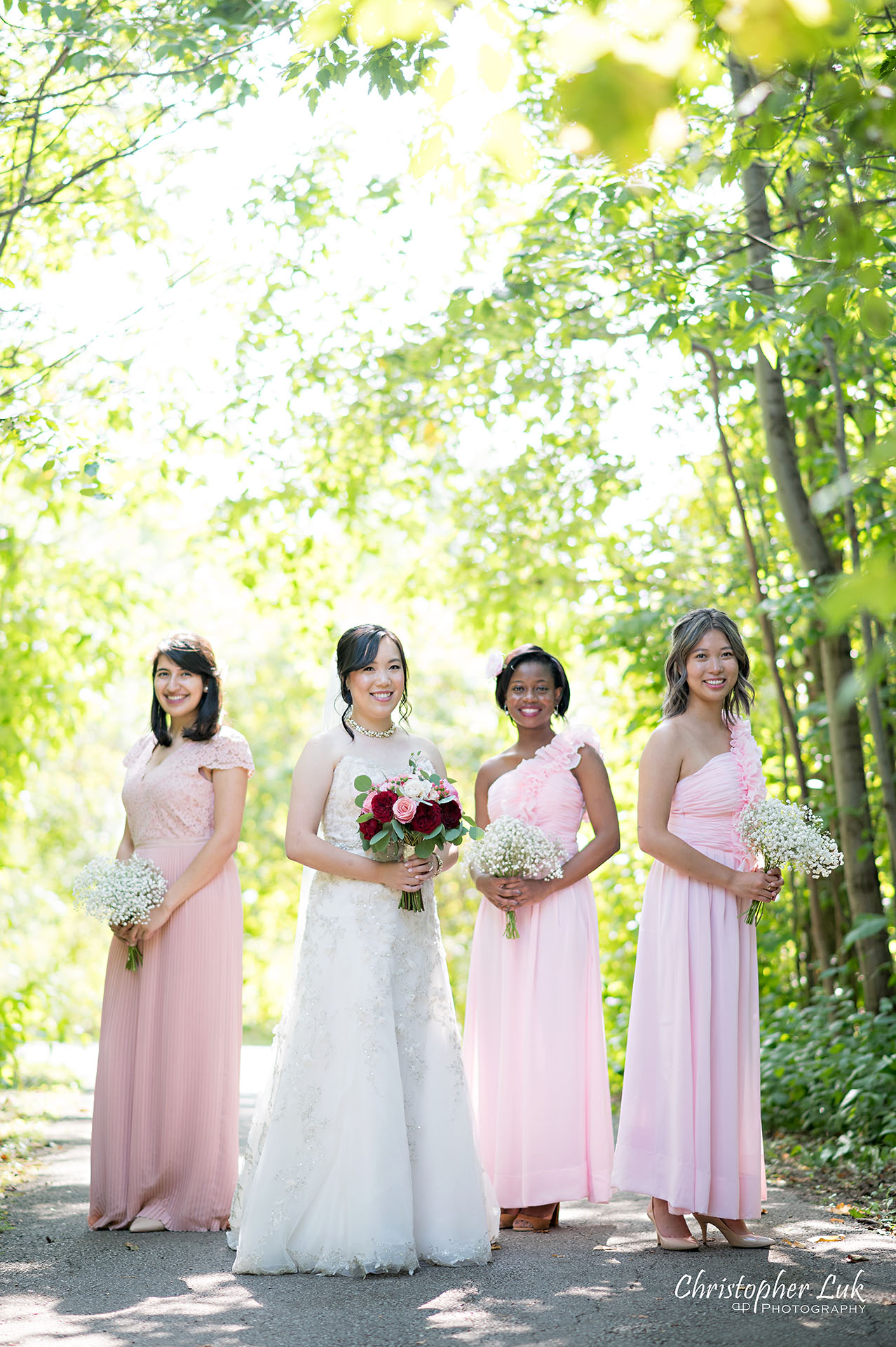 Christopher Luk Toronto Wedding Photographer Bridle Trail Baptist Church Unionville Main Street Crystal Fountain Event Venue Bride Groom Natural Photojournalistic Candid Creative Portrait Session Pictures Bridal Party Maid of Honour Bridesmaids Forest Smile Vertical