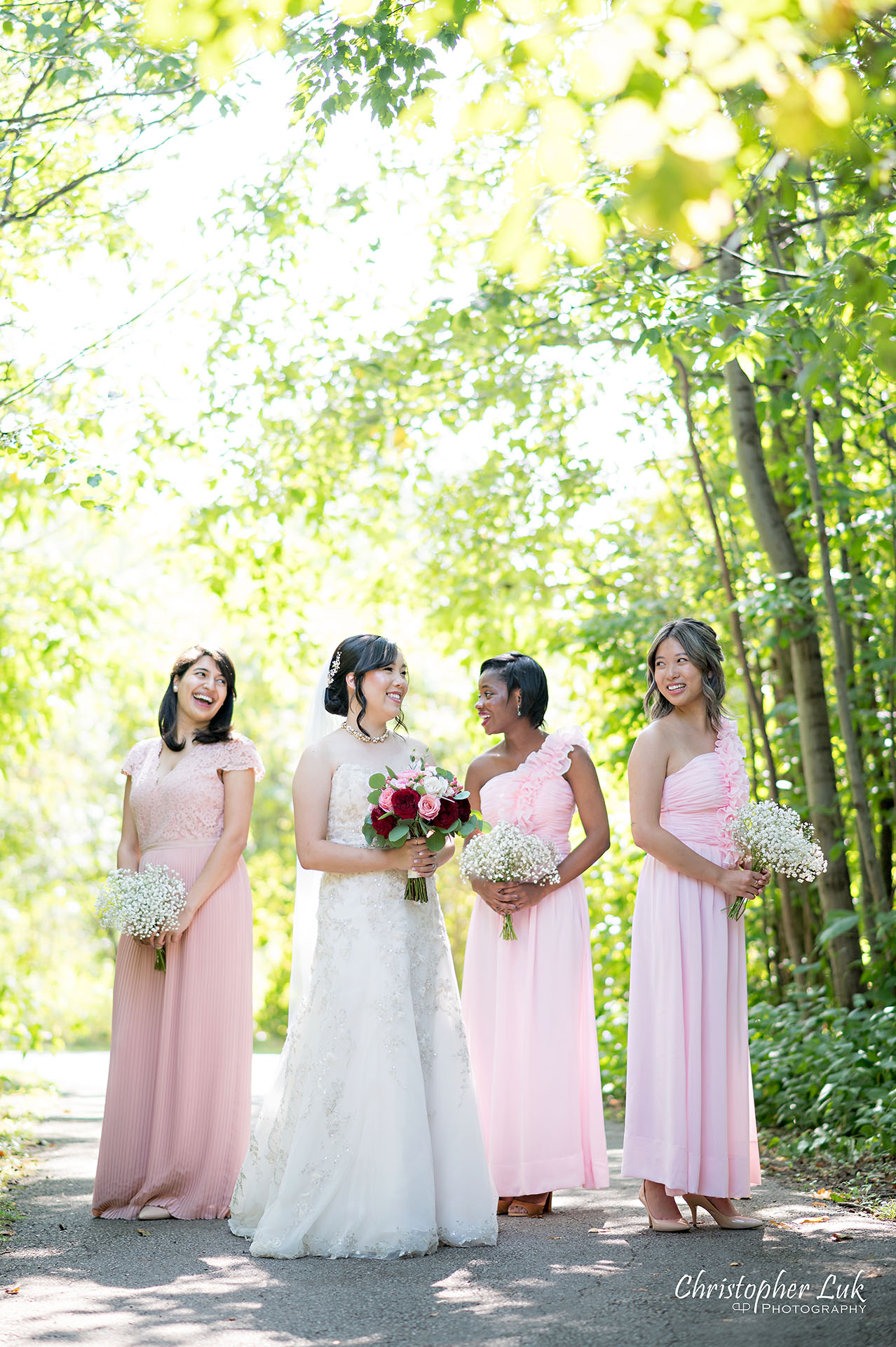 Christopher Luk Toronto Wedding Photographer Bridle Trail Baptist Church Unionville Main Street Crystal Fountain Event Venue Bride Groom Natural Photojournalistic Candid Creative Portrait Session Pictures Bridal Party Maid of Honour Bridesmaids Forest Smiling Vertical