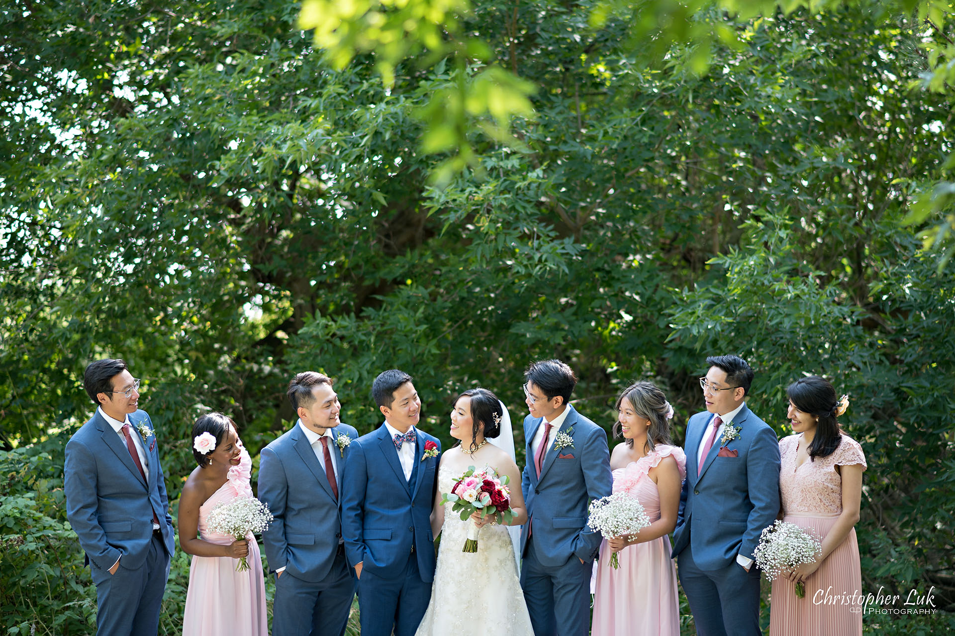 Christopher Luk Toronto Wedding Photographer Bridle Trail Baptist Church Unionville Main Street Crystal Fountain Event Venue Bride Groom Natural Photojournalistic Candid Creative Portrait Session Pictures Bridal Party Best Man Groomsmen Maid of Honour Bridesmaids Forest Landscape