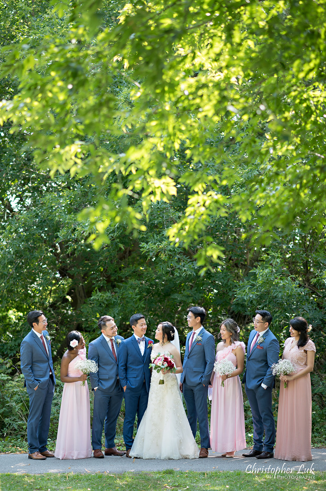 Christopher Luk Toronto Wedding Photographer Bridle Trail Baptist Church Unionville Main Street Crystal Fountain Event Venue Bride Groom Natural Photojournalistic Candid Creative Portrait Session Pictures Bridal Party Best Man Groomsmen Maid of Honour Bridesmaids Forest Vertical Portrait