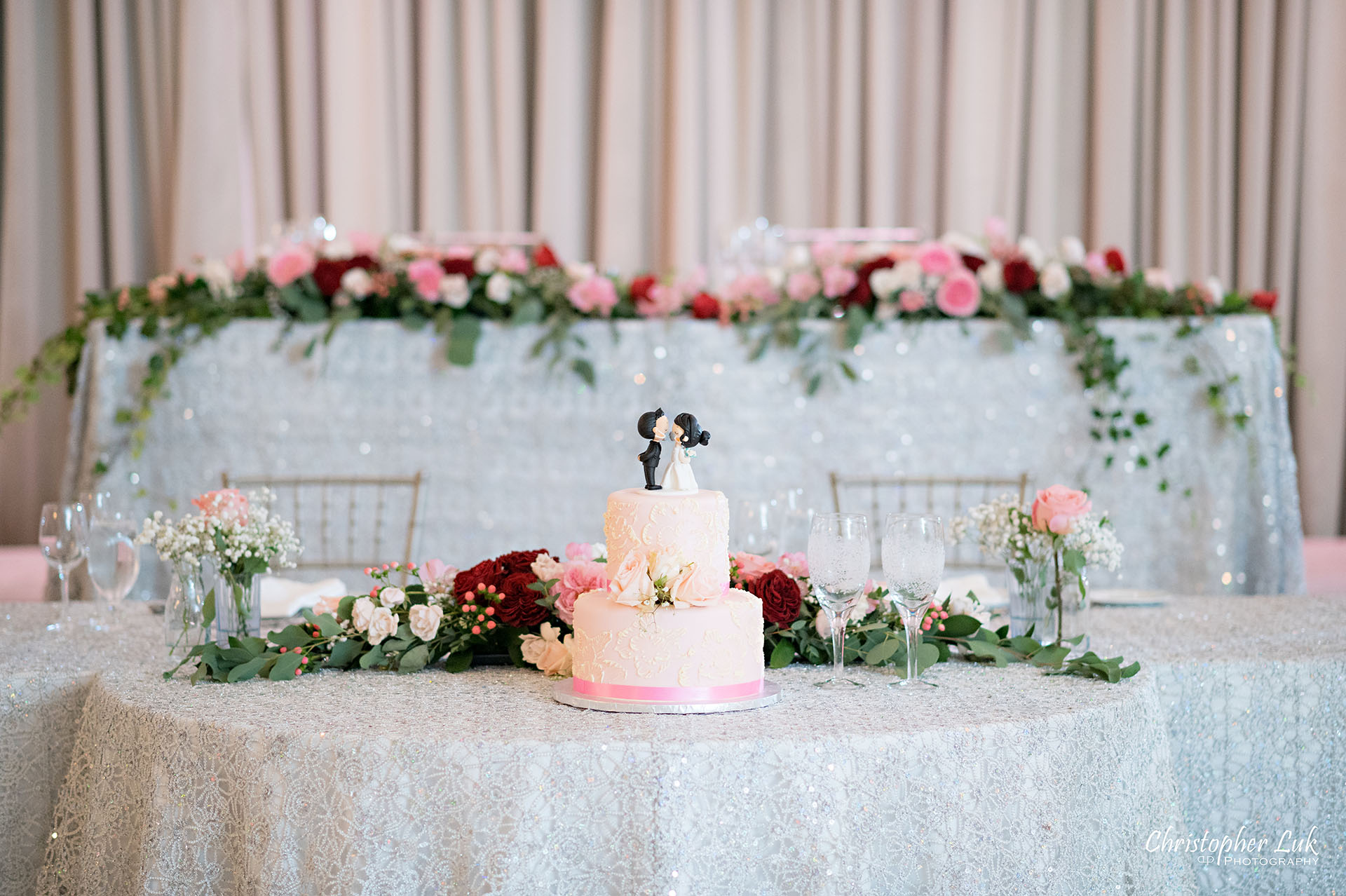 Christopher Luk Toronto Wedding Photographer Bridle Trail Baptist Church Unionville Main Street Crystal Fountain Event Venue Head Table Decor Flower Bell by Masami Crystal Linen Setup Cake Coronavirus COVID19 Mask Topper Kissing