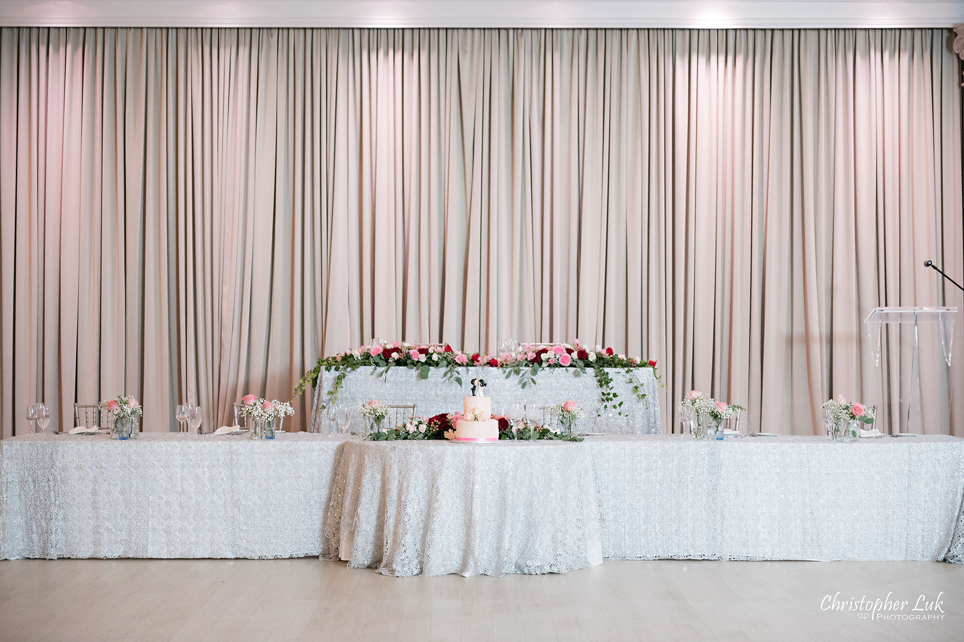 Christopher Luk Toronto Wedding Photographer Bridle Trail Baptist Church Unionville Main Street Crystal Fountain Event Venue Head Table Decor Flower Bell by Masami Crystal Linen Setup Wide Stage Curtains