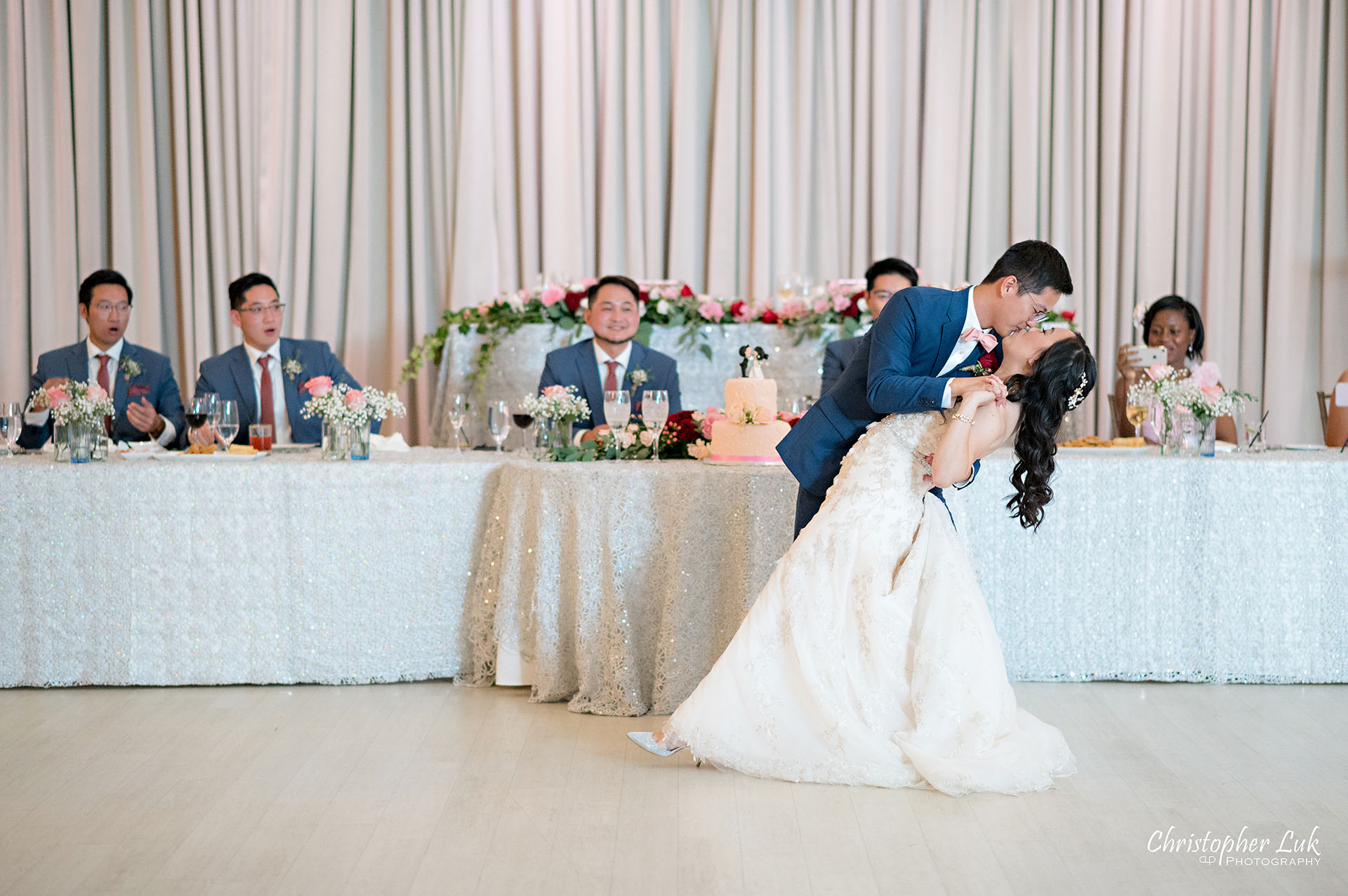 Christopher Luk Toronto Wedding Photographer Bridle Trail Baptist Church Unionville Main Street Crystal Fountain Event Venue Head Table Decor Flower Bell by Masami Crystal Linen Setup Wide Stage Curtains Bride Groom First Dance Dip Kiss Hug