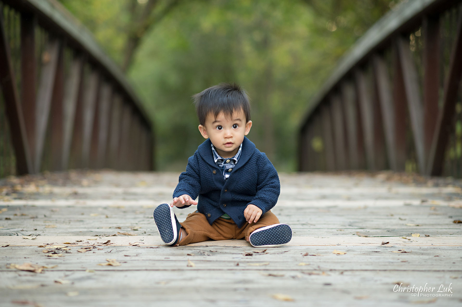 Christopher Luk Family Photographer Toronto Markham Unionville Autumn Fall Leaves Natural Candid Photojournalistic Son Brother Boy Crawling Baby Sitting Bridge