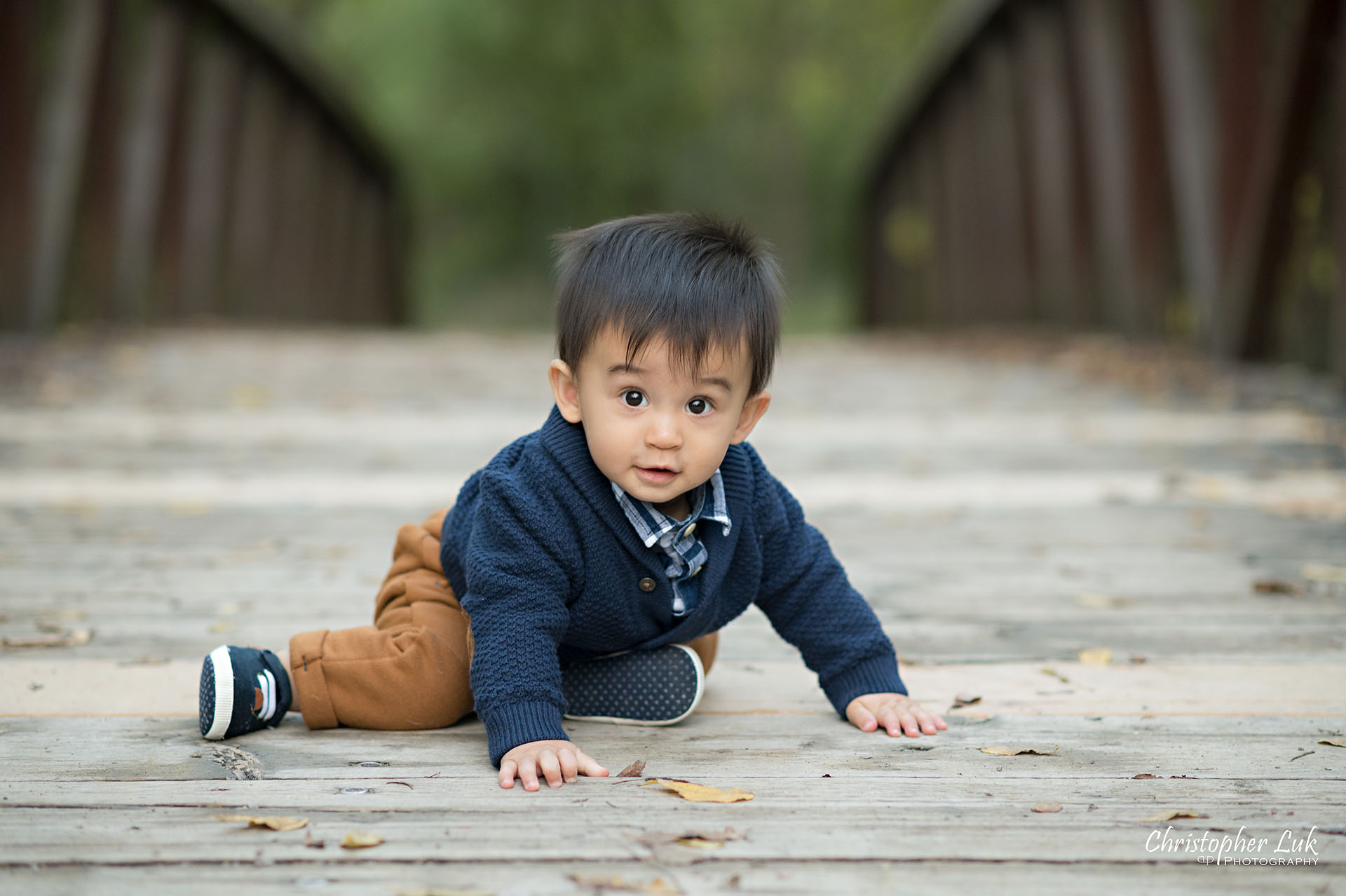 Christopher Luk Family Photographer Toronto Markham Unionville Autumn Fall Leaves Natural Candid Photojournalistic Son Brother Boy Crawling Baby Sitting Playing Bridge