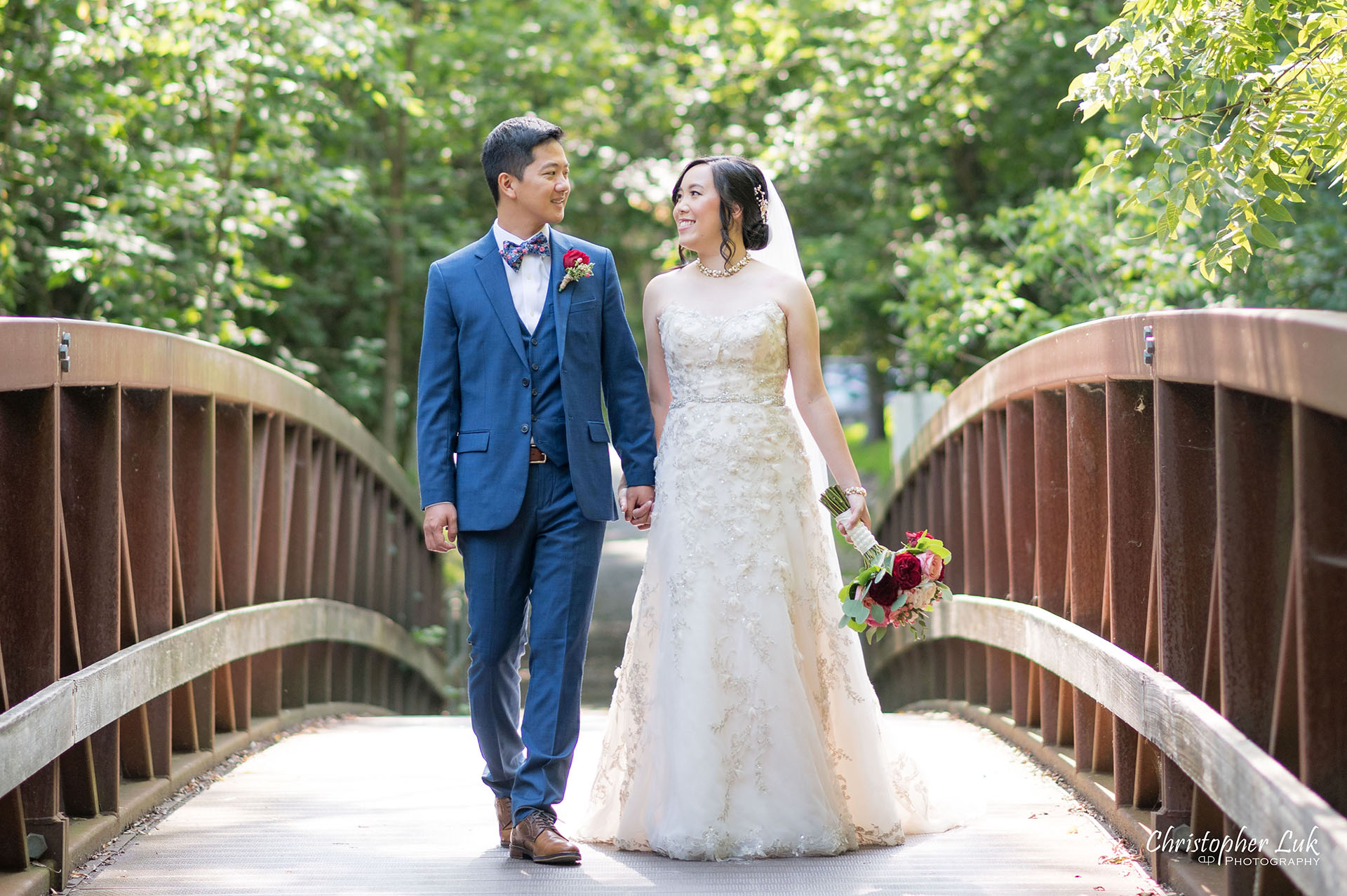 Christopher Luk Toronto Wedding Photographer Bridle Trail Baptist Church Unionville Main Street Crystal Fountain Event Venue Bride Groom Natural Photojournalistic Candid Creative Portrait Session Pictures Forest Trail Walkway Bridge Park Holding Hands Walking Together Landscape