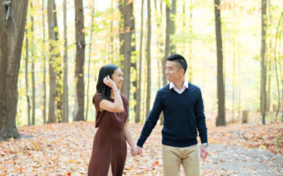 Toronto Autumn Fall Leaves Wedding Engagement Session