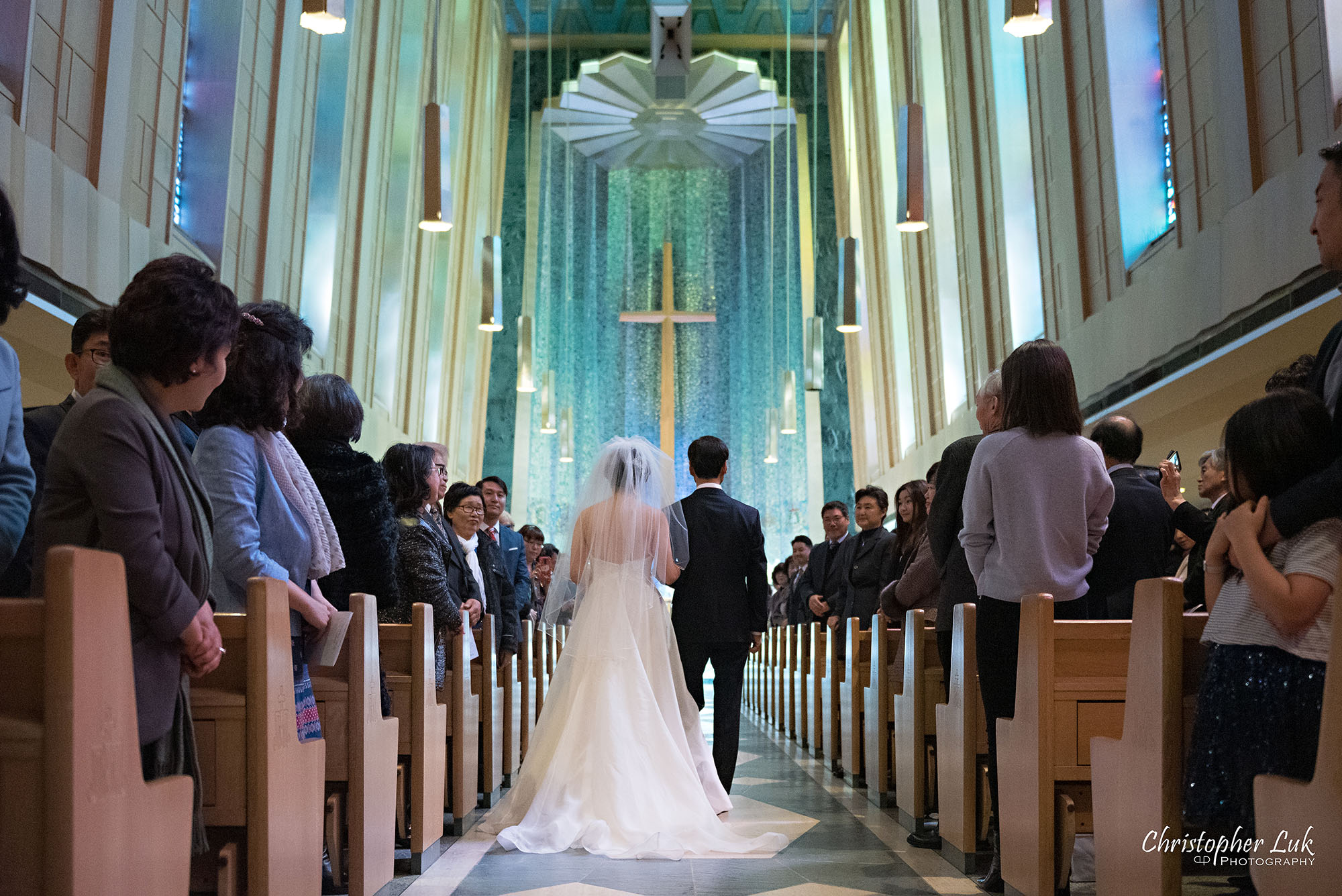 Christopher Luk Toronto Wedding Photography Tyndale Chapel Church Ceremony Venue Location Bride Father Walking Down the Aisle