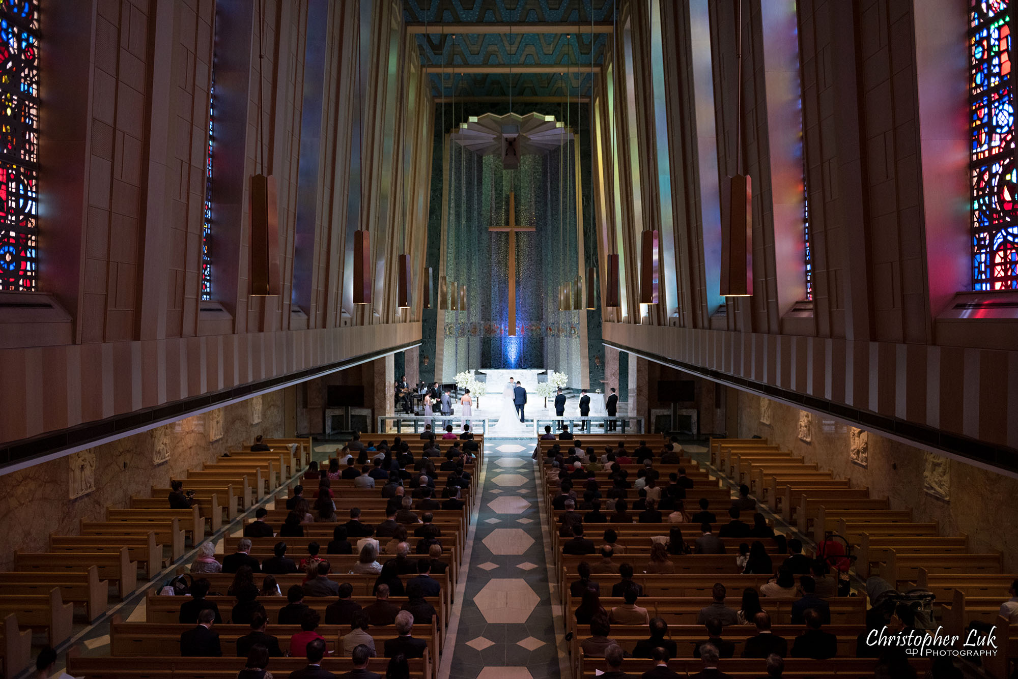 Christopher Luk Toronto Wedding Photography Tyndale Chapel Church Ceremony Venue Location Bride Groom Altar Stained Glass Windows Balcony Wide Landscape