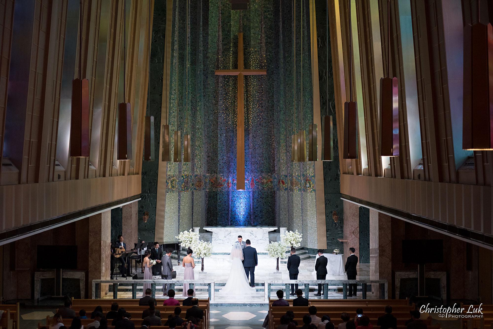 Christopher Luk Toronto Wedding Photography Tyndale Chapel Church Ceremony Venue Location Bride Groom Altar Stained Glass Windows Balcony Detail
