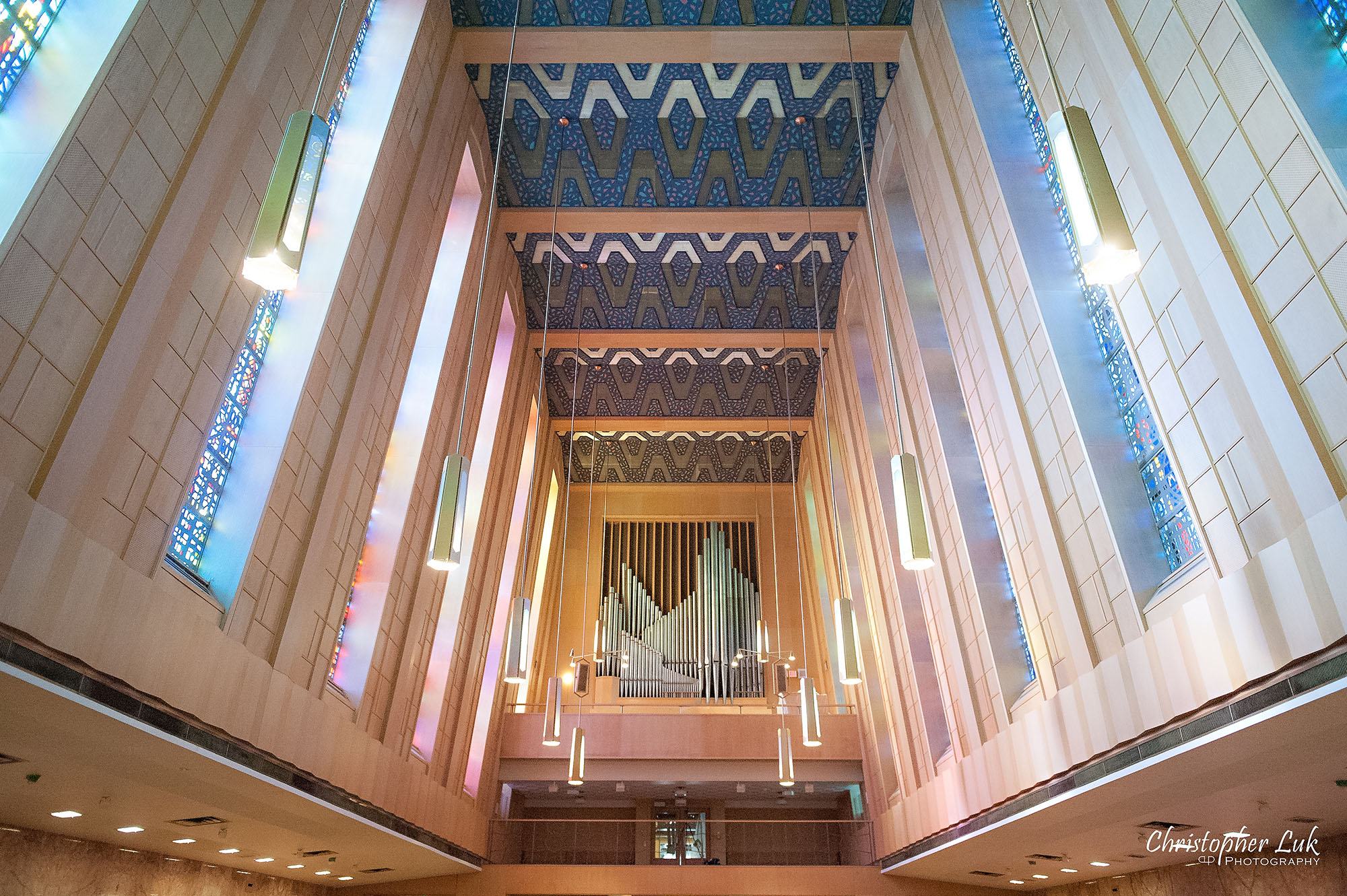 Christopher Luk Toronto Wedding Photography Tyndale Chapel Church Ceremony Venue Location Pipe Organ Ceiling Stained Glass Windows